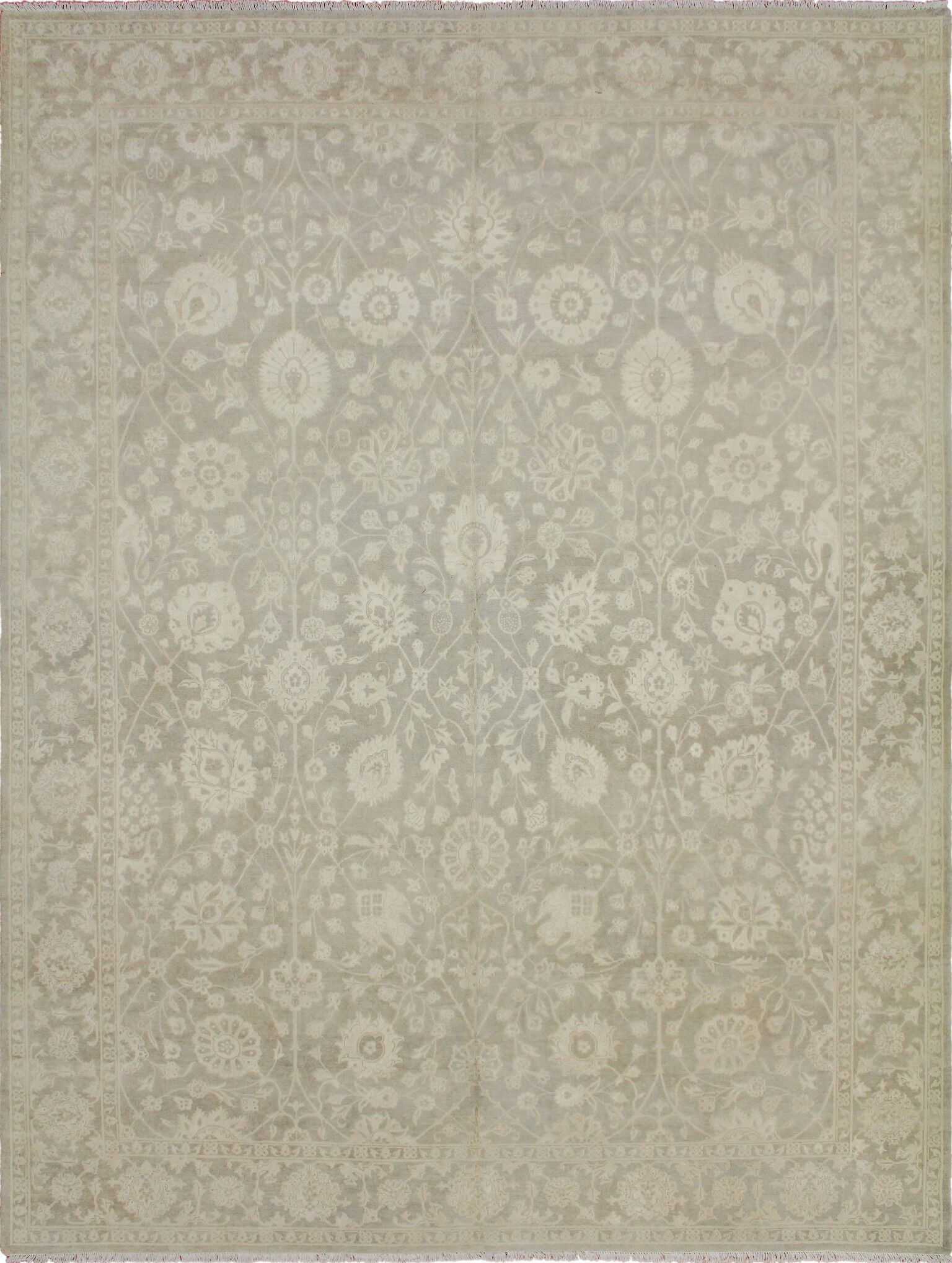 One-of-a-Kind Romona Faded Hand-Knotted Rectangle Gray Area Rug