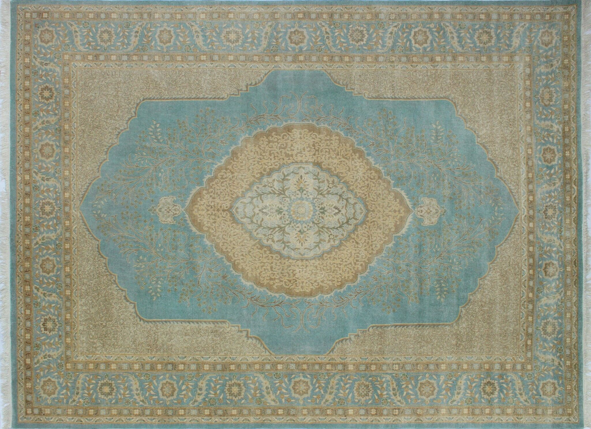 Branner Hand Knotted Wool Light Blue Area Rug Rug Size: Rectangle 9' x 11'10