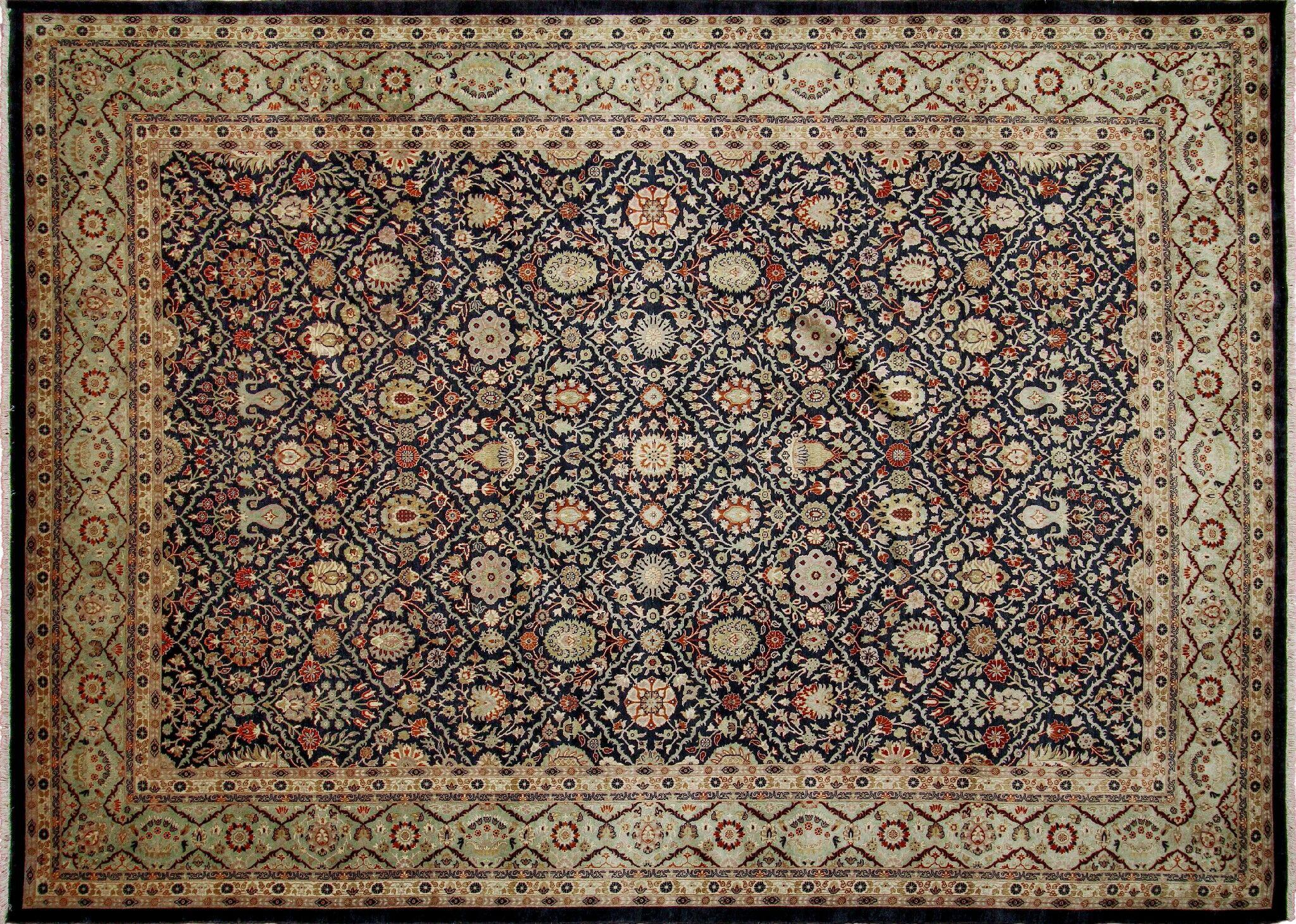 Ankara Juldyz Hand Knotted Wool Black Area Rug Rug Size: Rectangle 10'3
