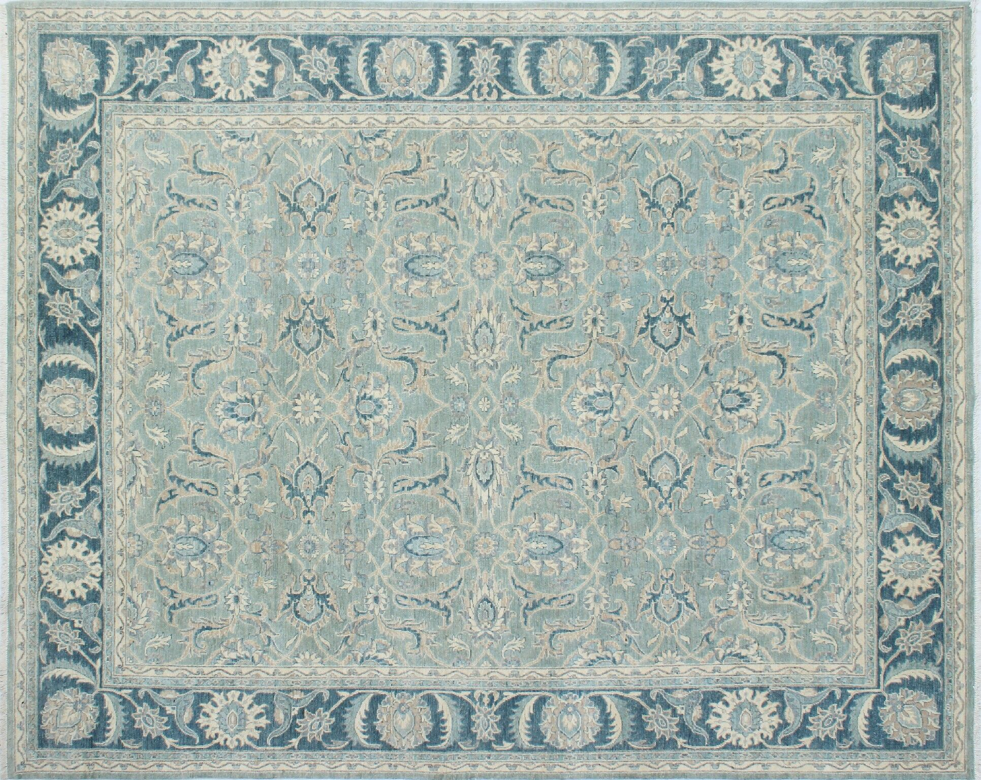 One-of-a-Kind Abbotsford Fine Hand-Knotted Light Green Area Rug