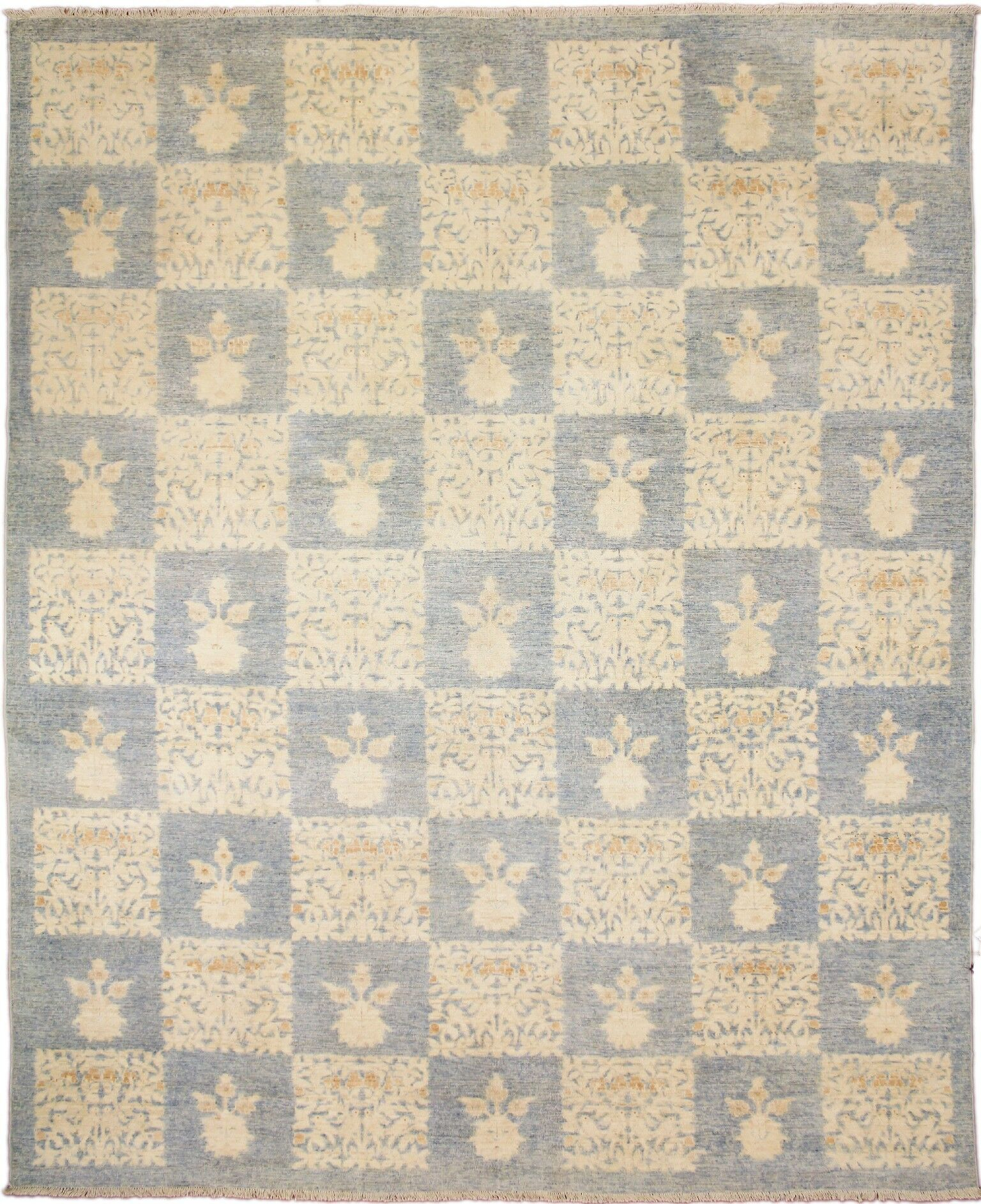 One-of-a-Kind Caryl Faded Hand-Knotted Rectangle Light Blue Area Rug