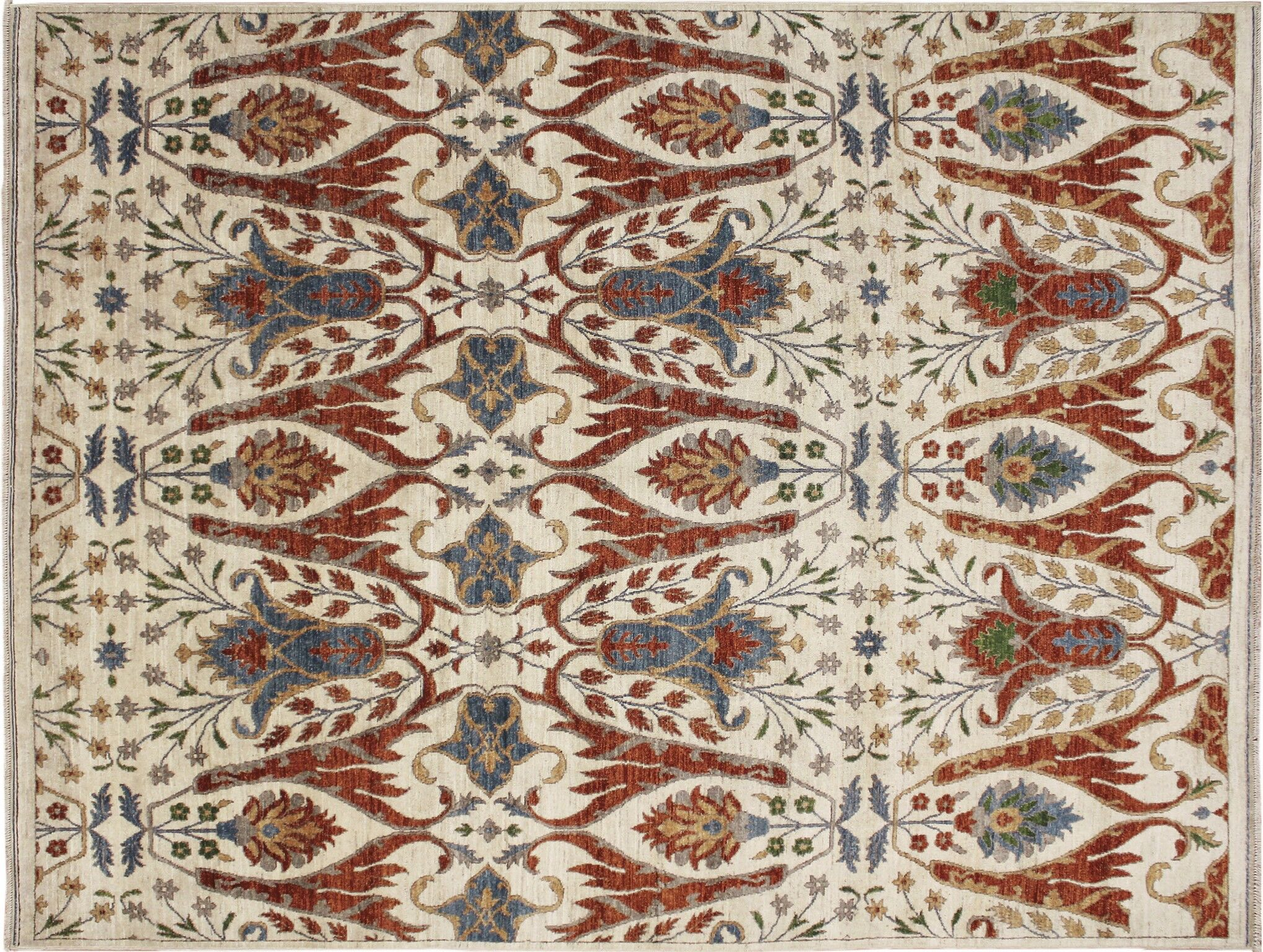 Abbotsford Fine Hand-Knotted Ivory Area Rug Rug Size: Rectangle 6'2
