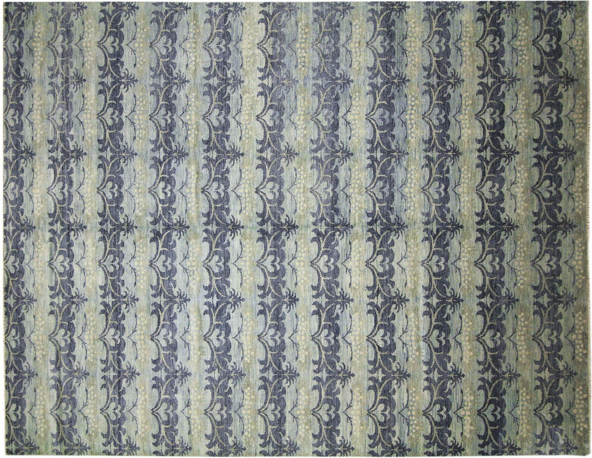 One-of-a-Kind Lona Loom Hand-Knotted Rectangle Light Blue Area Rug