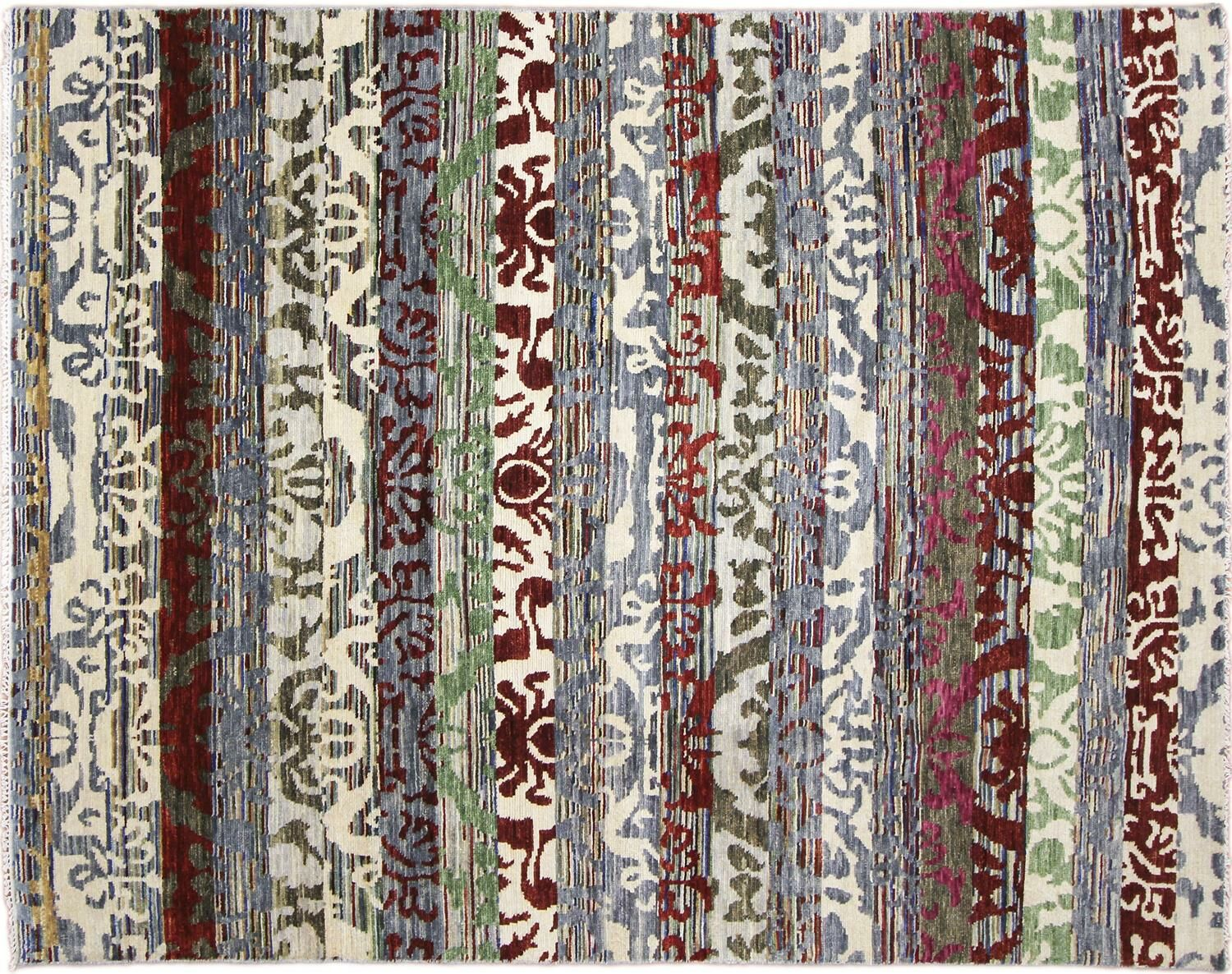 One-of-a-Kind Lona Ikat Hand-Knotted Wool Ivory Area Rug
