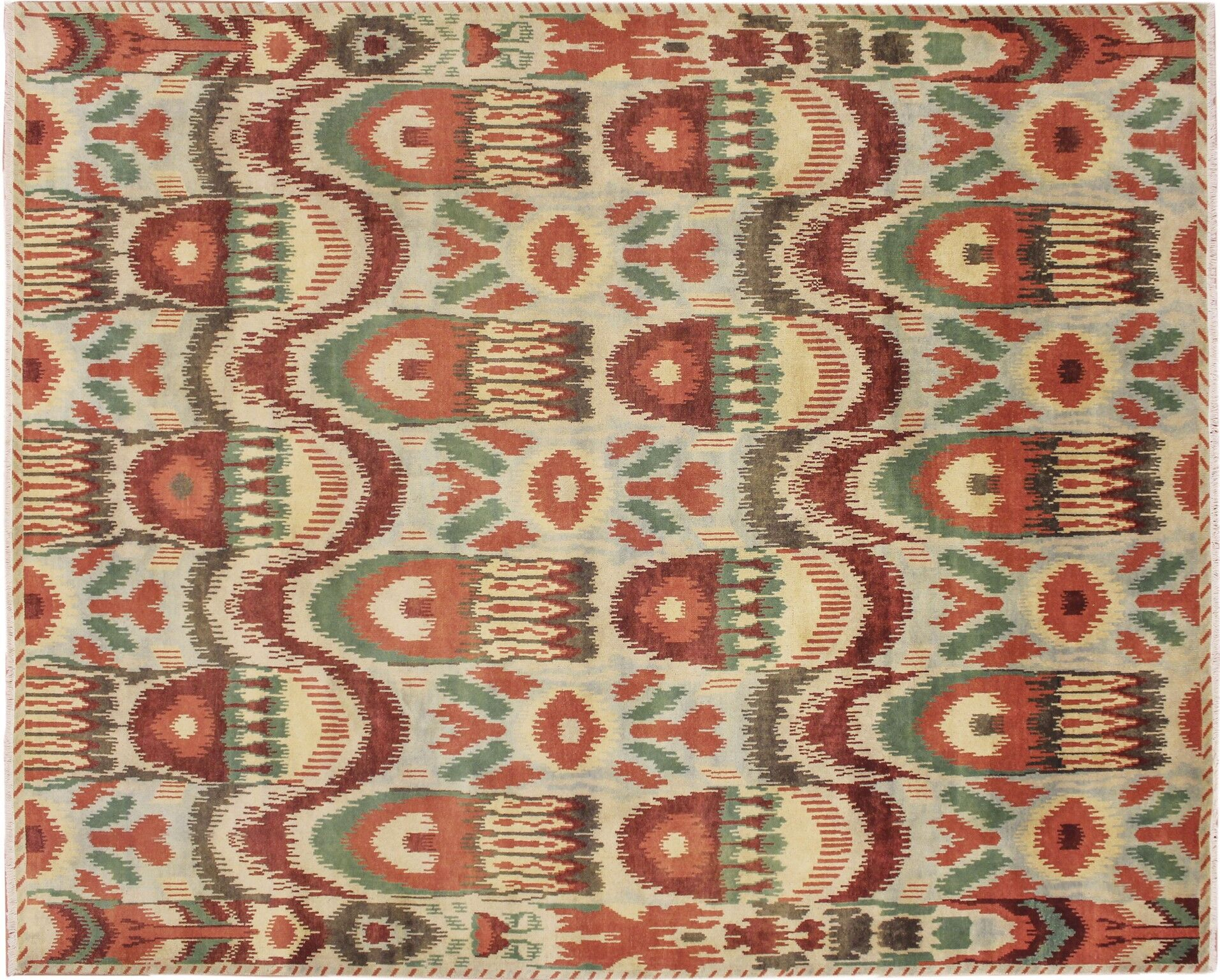 Fine Ikat Hand-Knotted Light Green Area Rug Rug Size: Rectangle 8'2