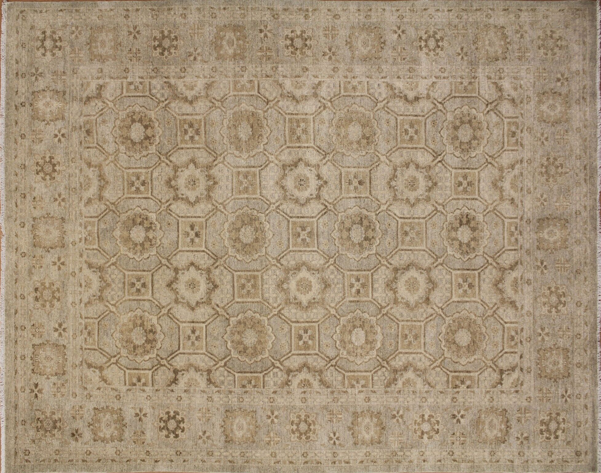 One-of-a-Kind Romona Hand-Knotted Oriental Beige Wool Area Rug