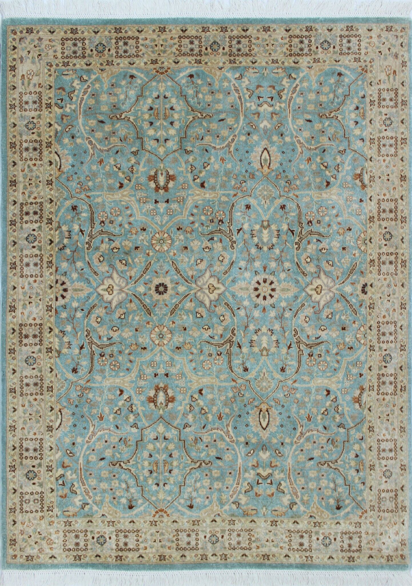 Tabriz Azlan Hand Knotted Wool Light Blue Area Rug Rug Size: Rectangle 4'1