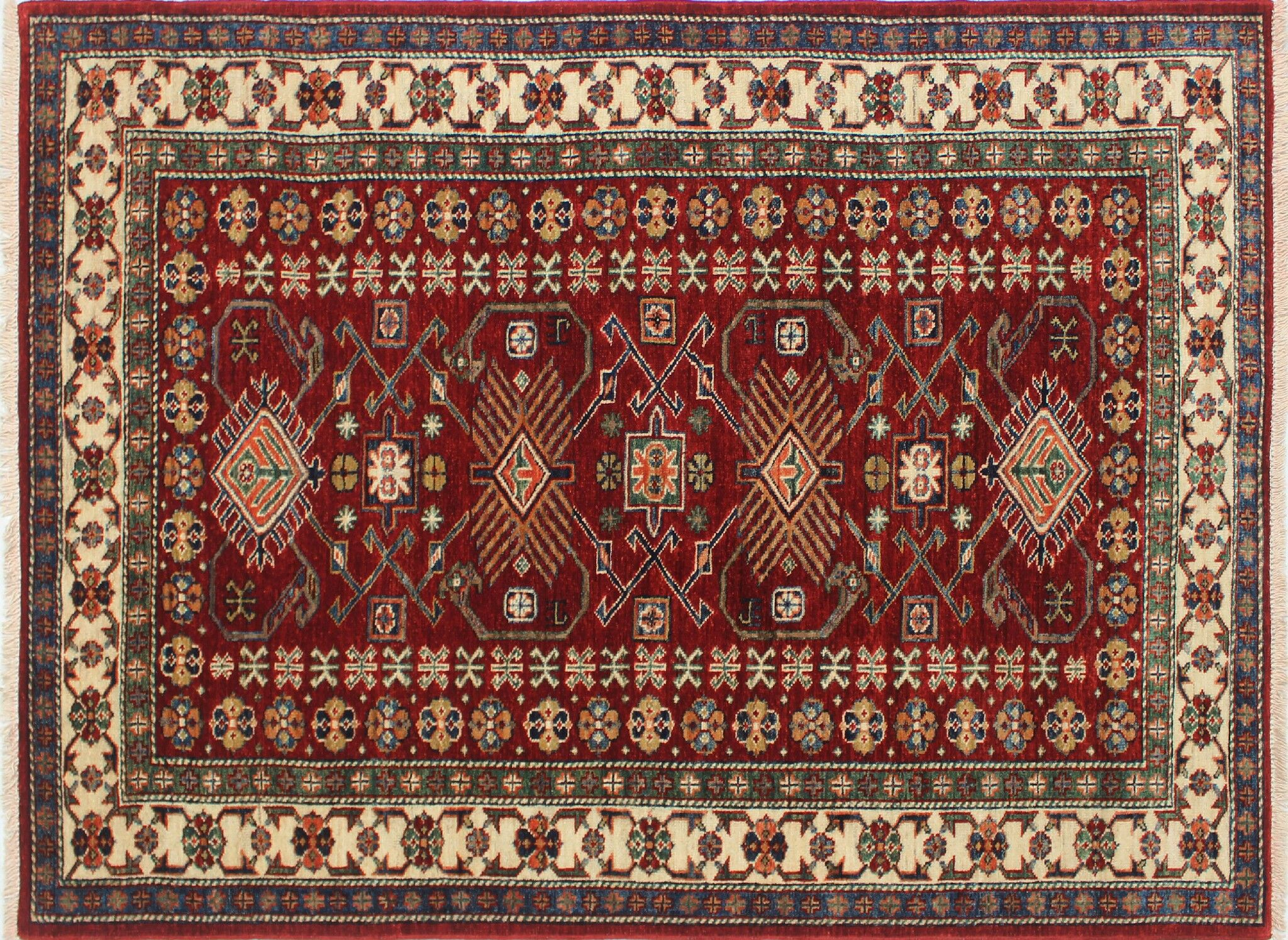 One-of-a-Kind Kazak Super Asad Hand-Knotted Red Area Rug