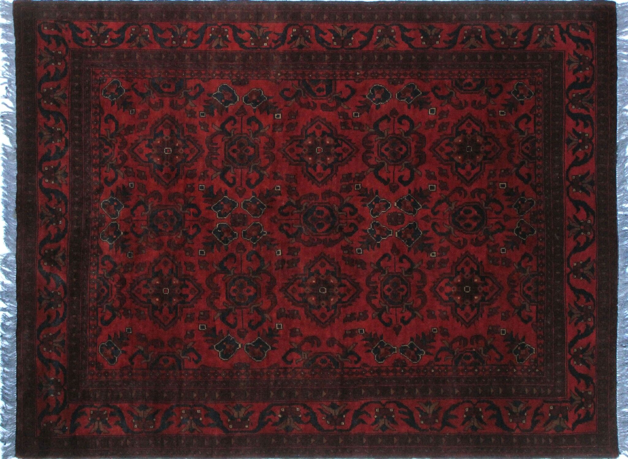 One-of-a-Kind Abeyta Tribal Hand-Knotted Red Oriental Fringe Border Area Rug