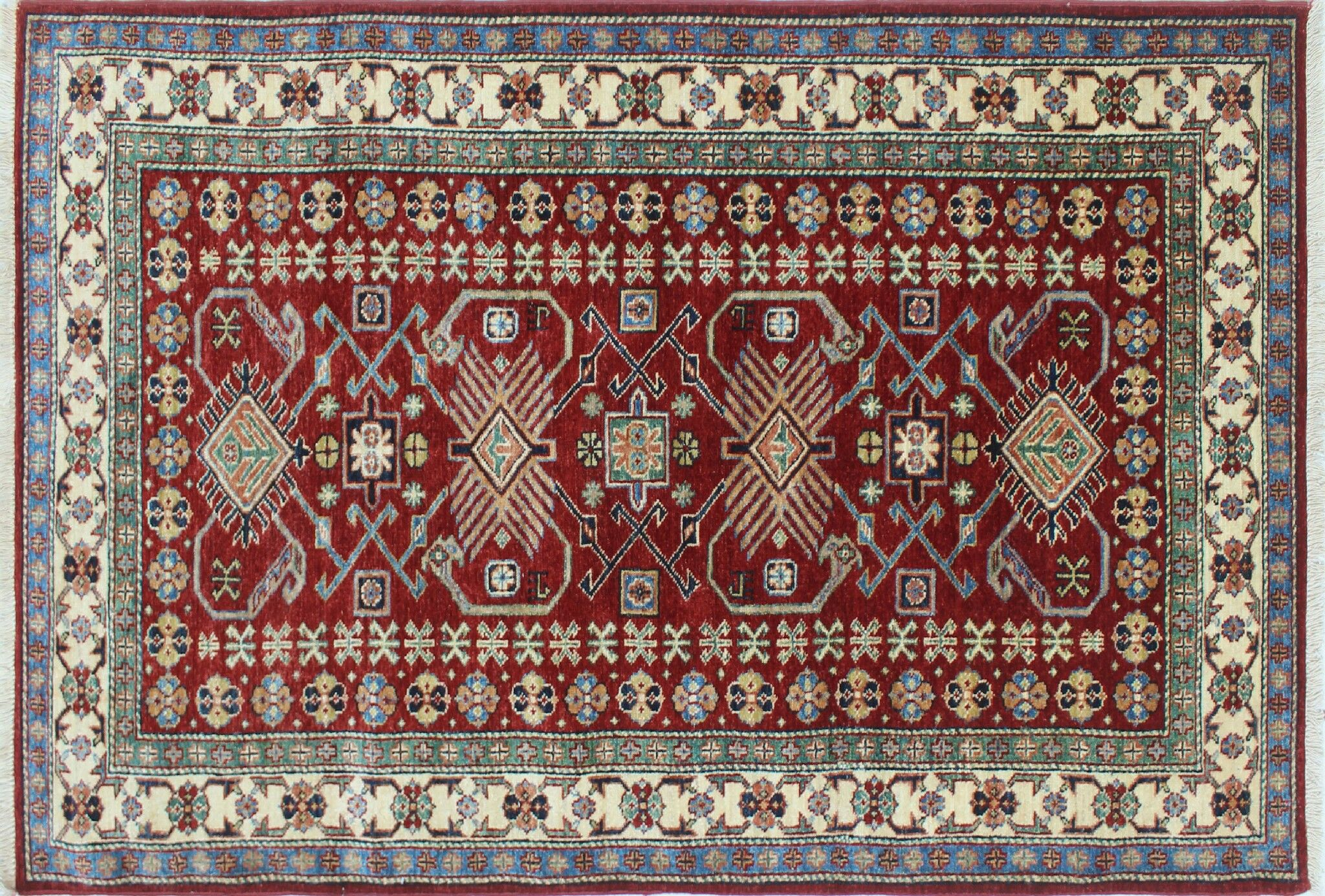 One-of-a-Kind Kazak Super Gul Hand-Knotted Red Area Rug