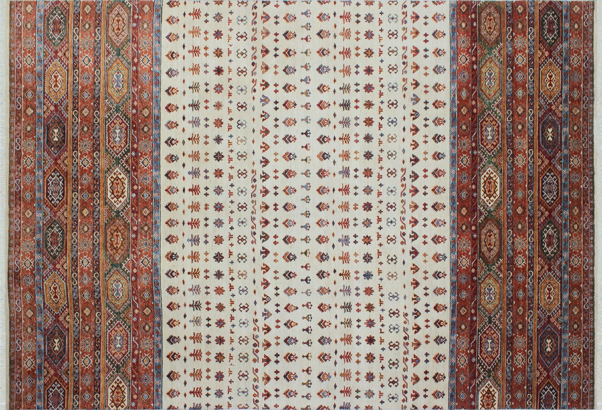 One-of-a-Kind Vernell Hand-Knotted Rectangle Ivory Area Rug