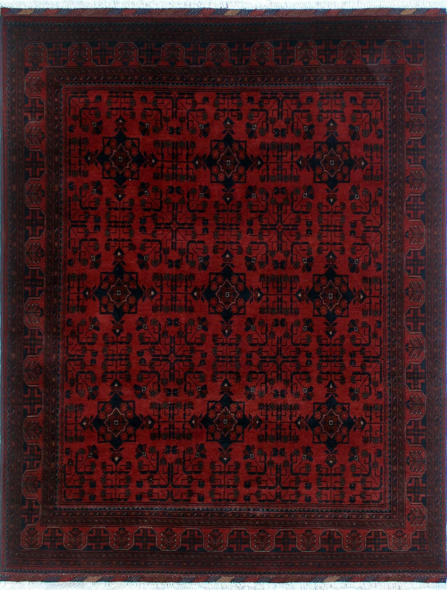 One-of-a-Kind Abeyta Hand-Knotted Red Geometric Fringe Area Rug
