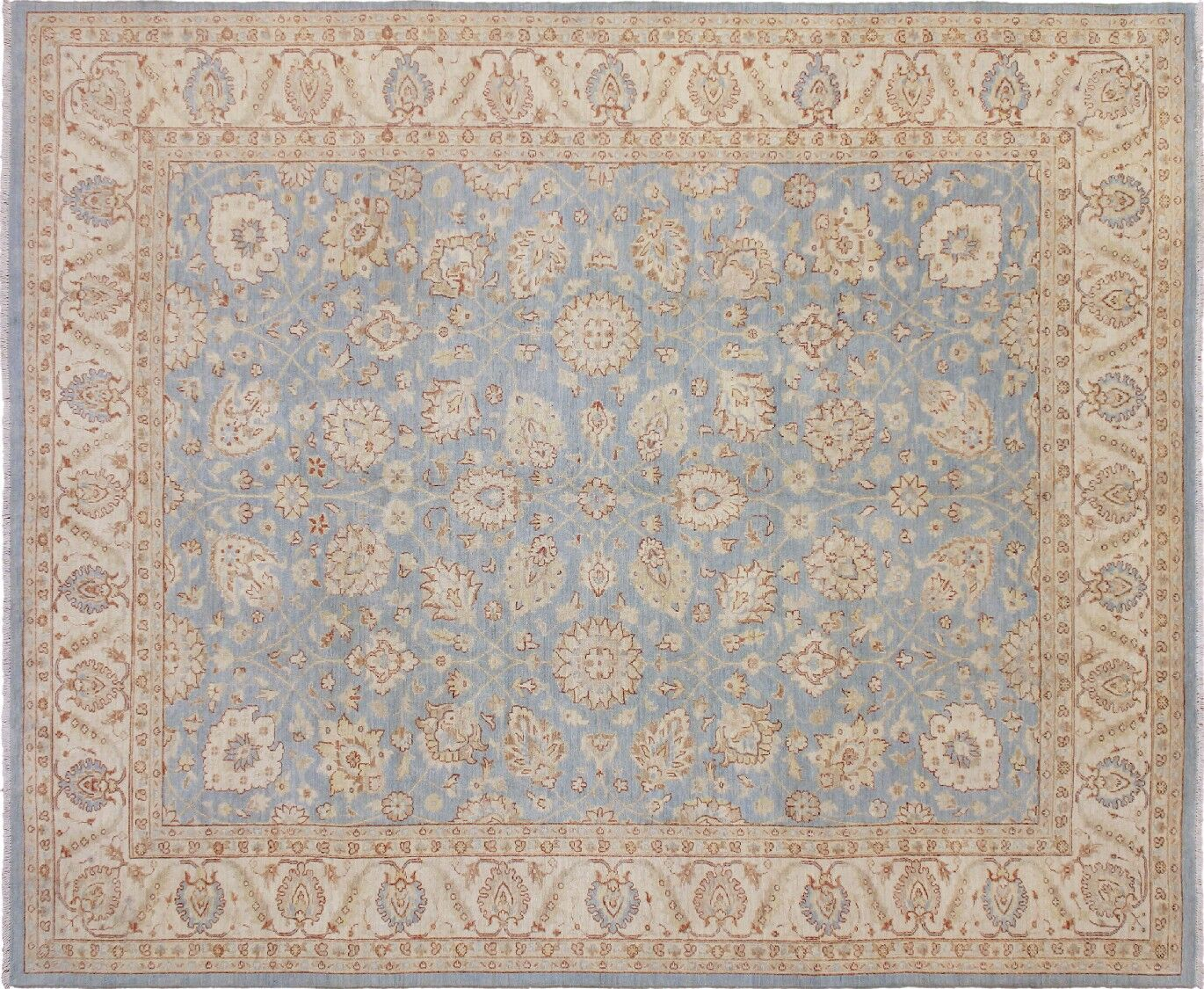 One-of-a-Kind Romona Hand-Knotted Oriental Light Blue Area Rug
