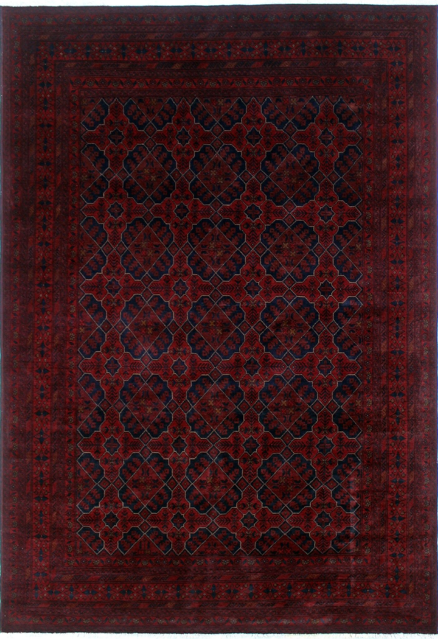 One-of-a-Kind Abeyta Hand-Knotted Rectangle Red Fringe Area Rug