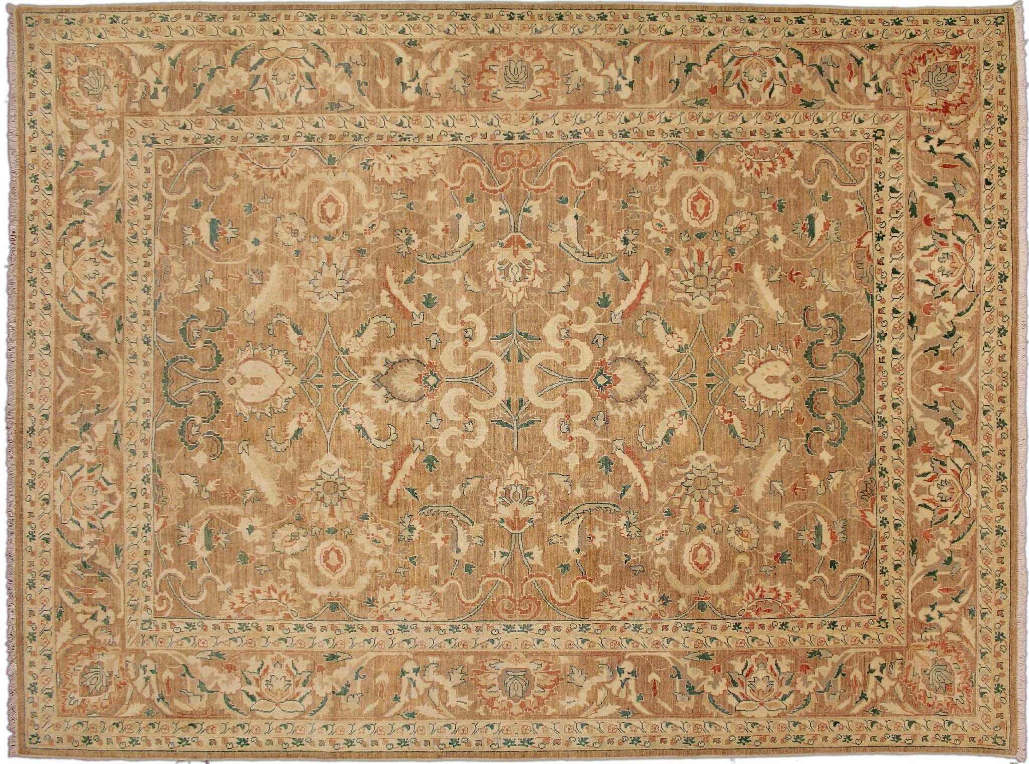 One-of-a-Kind Romona Hand-Knotted Light Brown Wool Area Rug