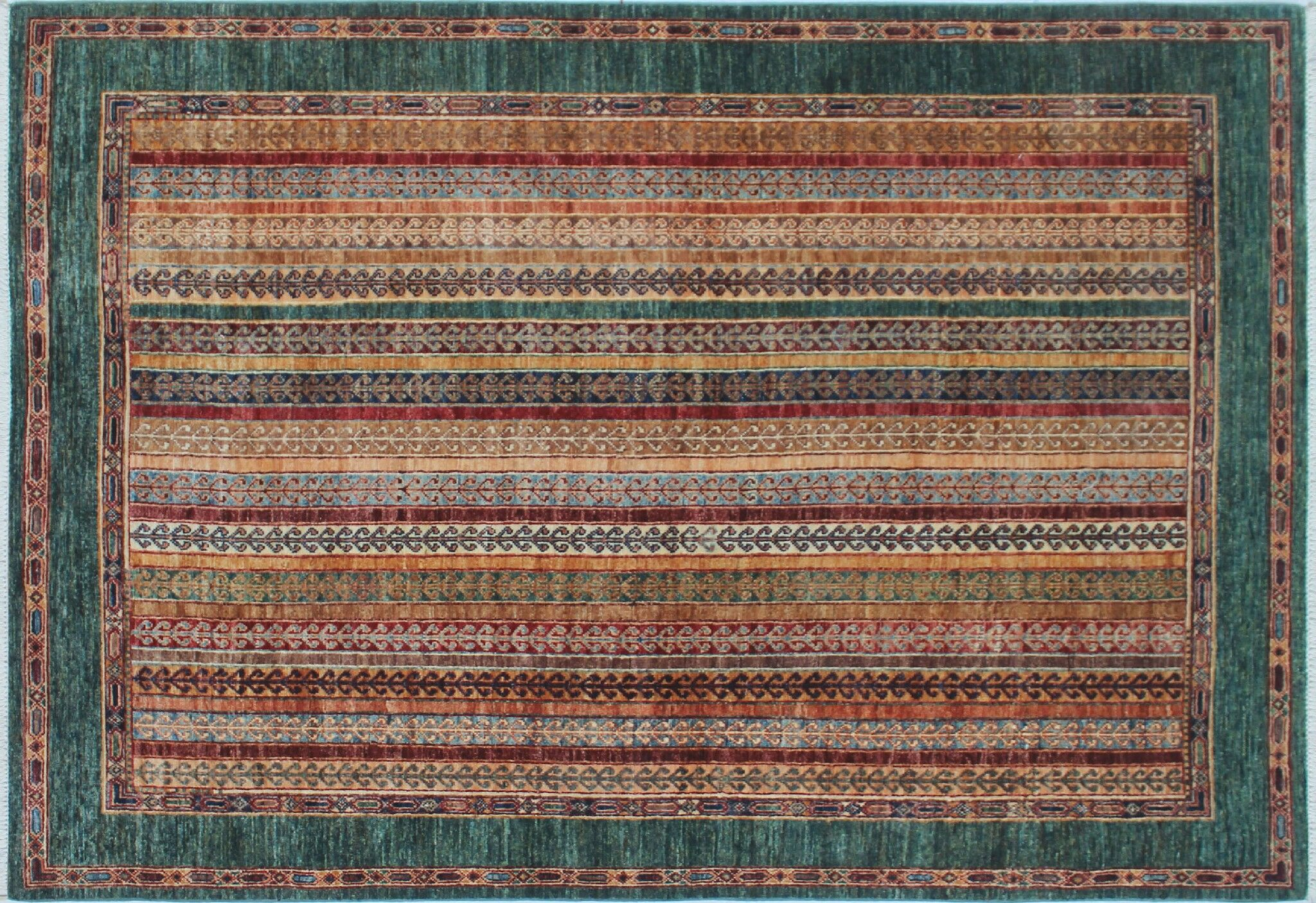 One-of-a-Kind Vernell Hand-Knotted Rectangle Green Area Rug