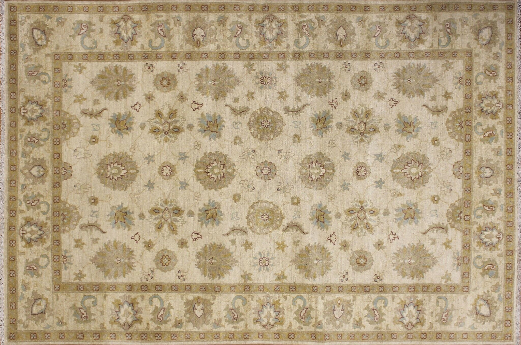 One-of-a-Kind Romona Hand-Knotted Oriental Rectangle Ivory Area Rug