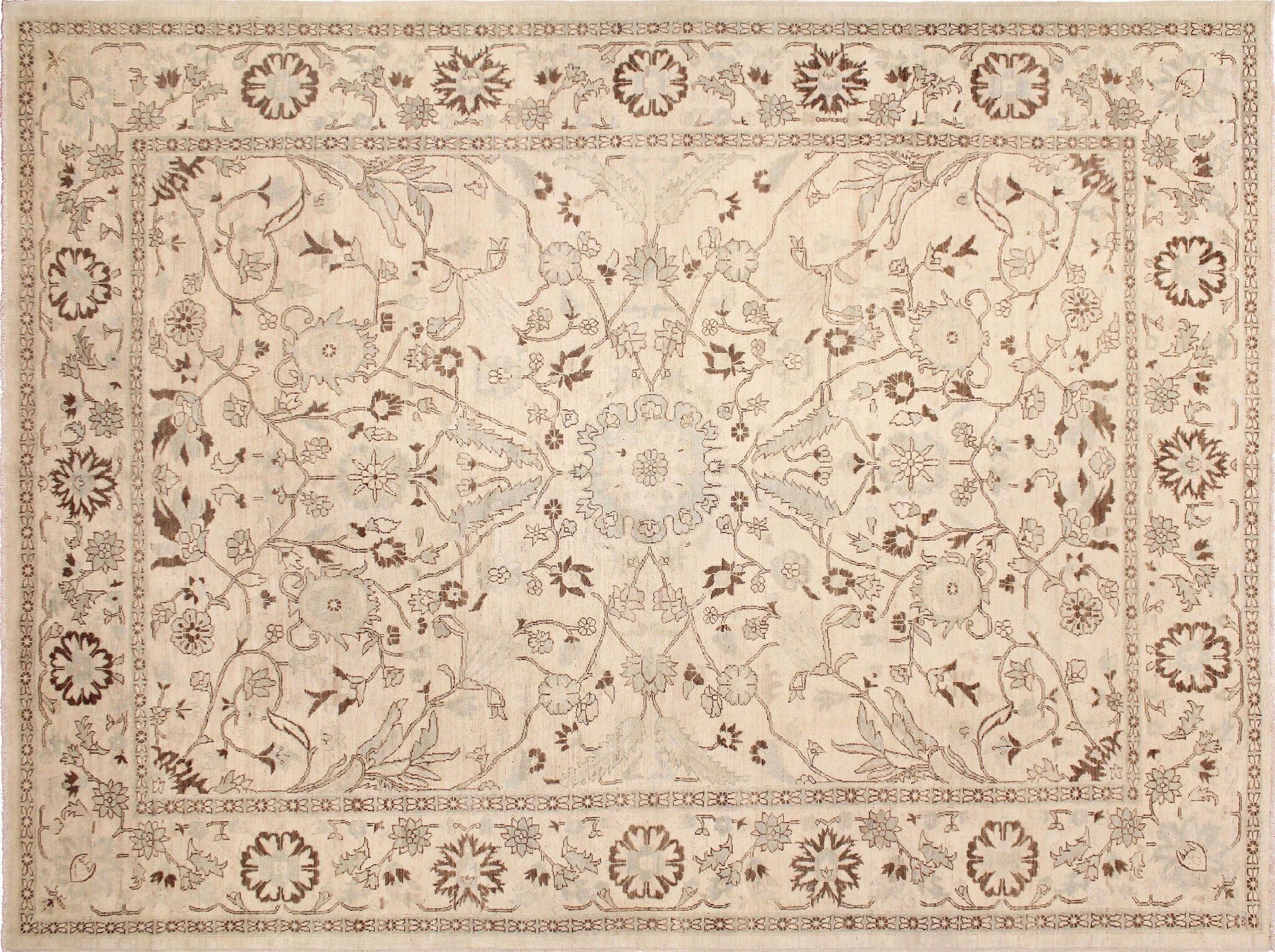 One-of-a-Kind Romona Hand-Knotted Oriental Ivory Indoor Area Rug