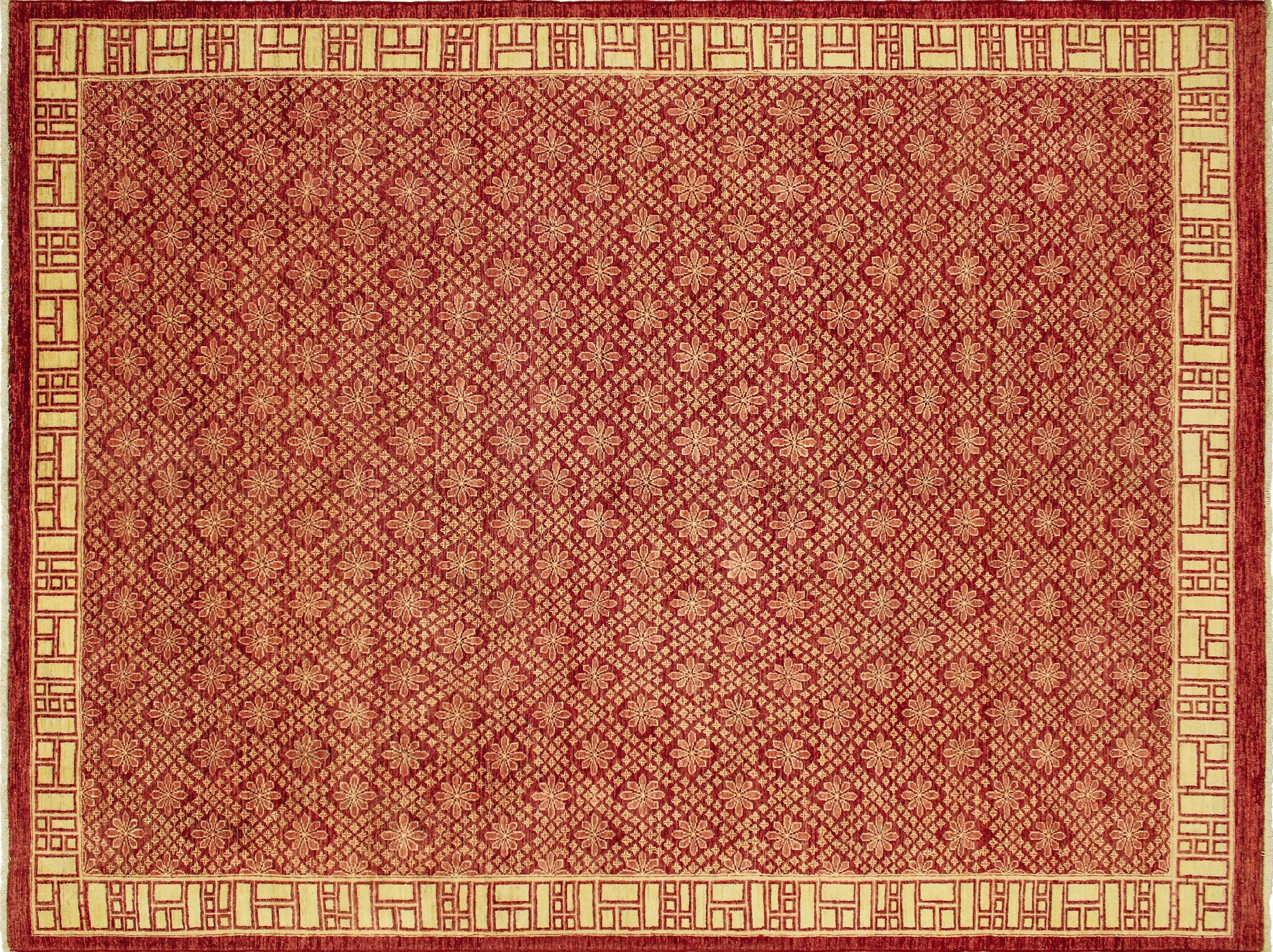 One-of-a-Kind Romona Hand-Knotted Red Area Rug