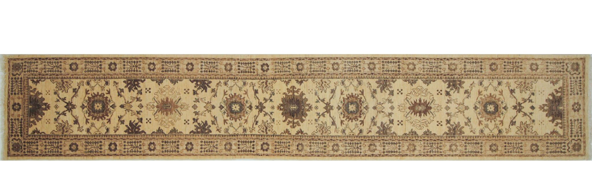 One-of-a-Kind Romona Hand-Knotted Runner Ivory Indoor Area Rug