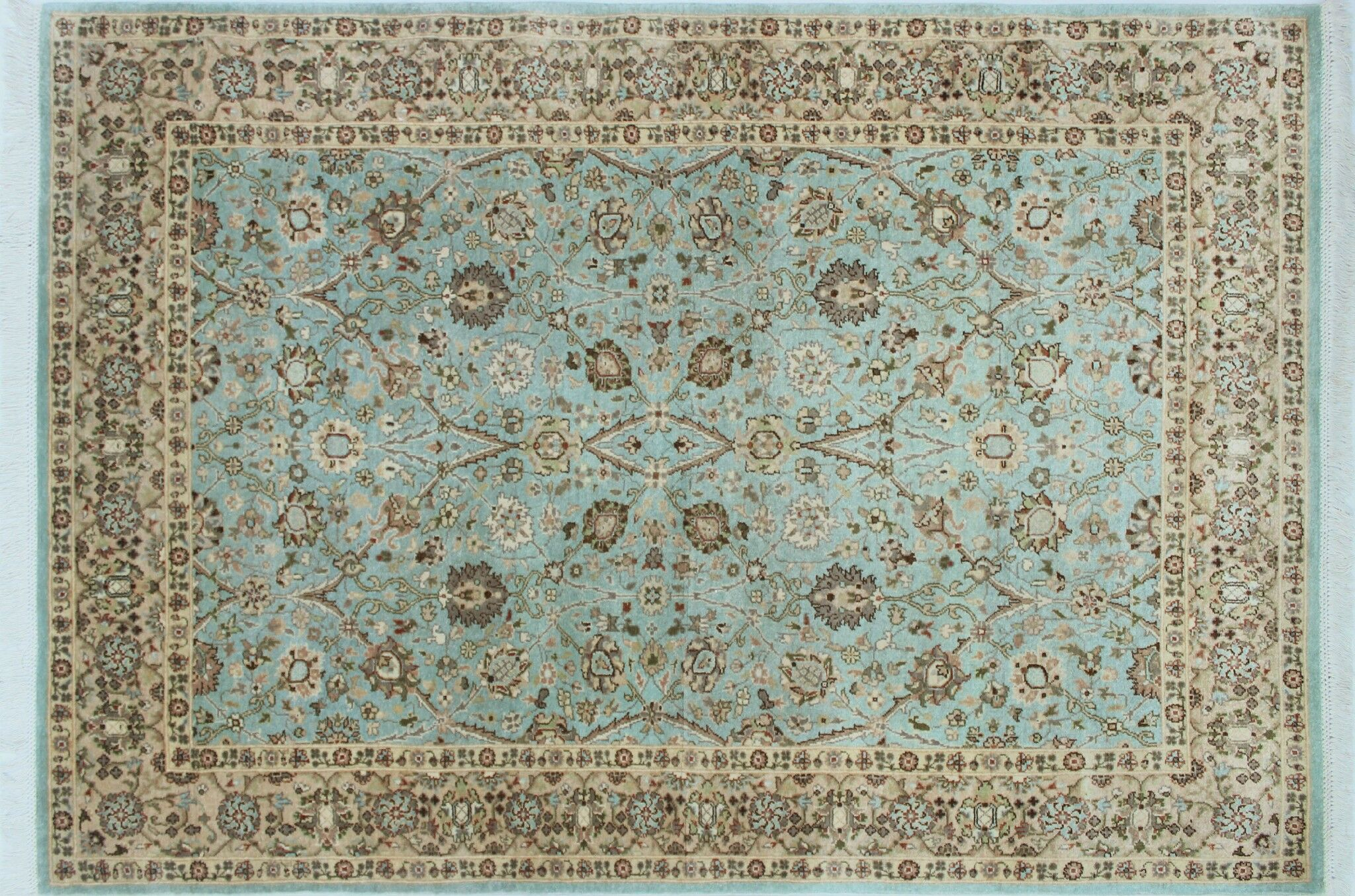 Arthen Hand Knotted Wool Blue Area Rug Rug Size: Rectangle 4'3