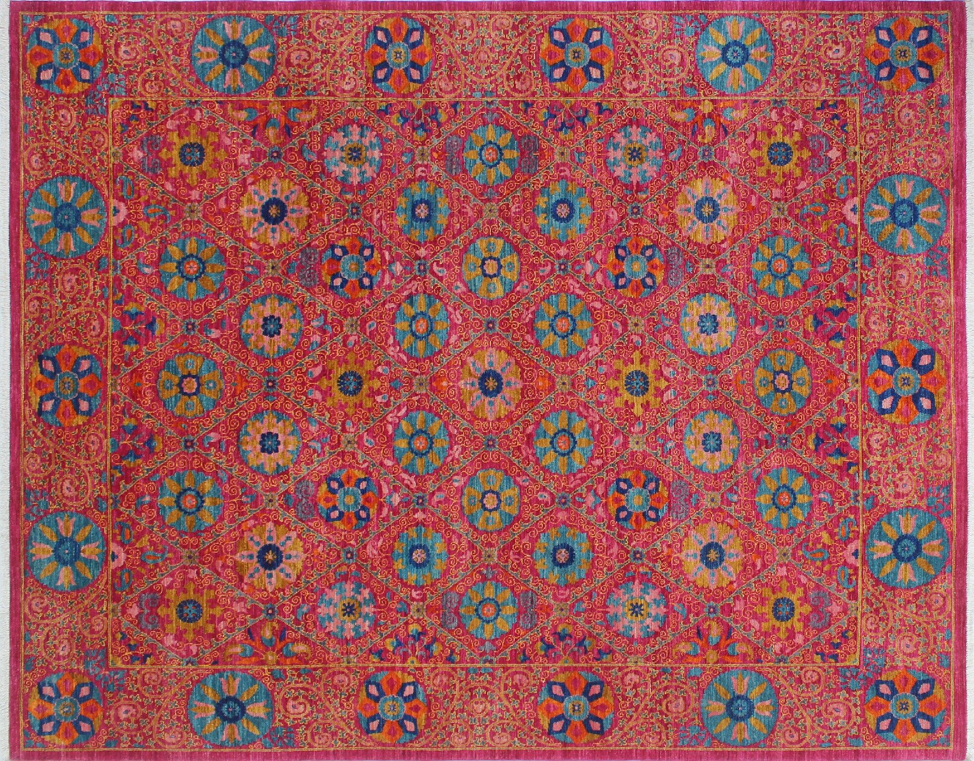 One-of-a-Kind Abrego Hand-Knotted Pink Area Rug