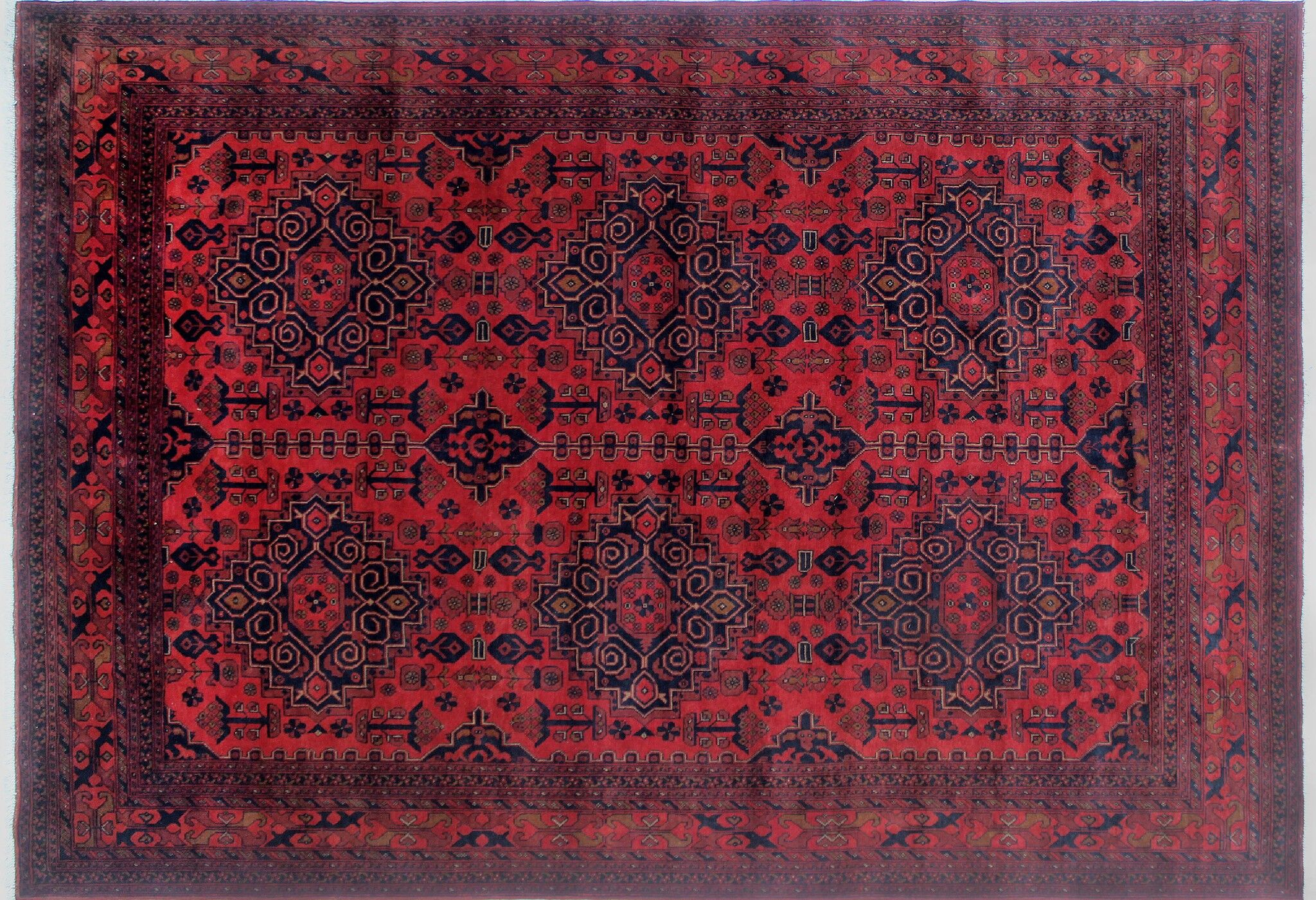 One-of-a-Kind Abeyta Geometric Hand-Knotted Rectangle Red Indoor Area Rug