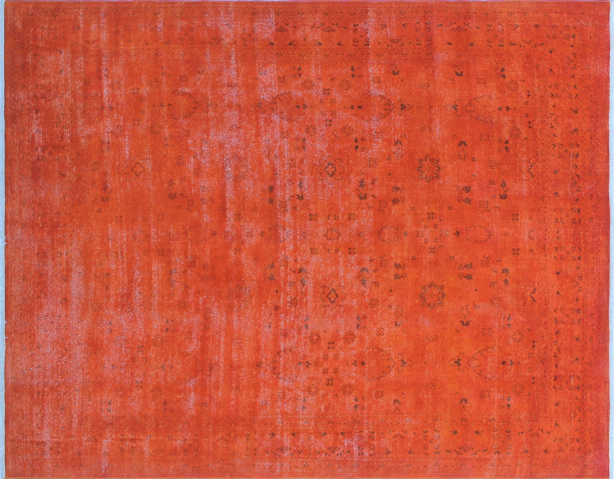 One-of-a-Kind Mariana Overdyed Distressed Hand-Knotted Orange Area Rug