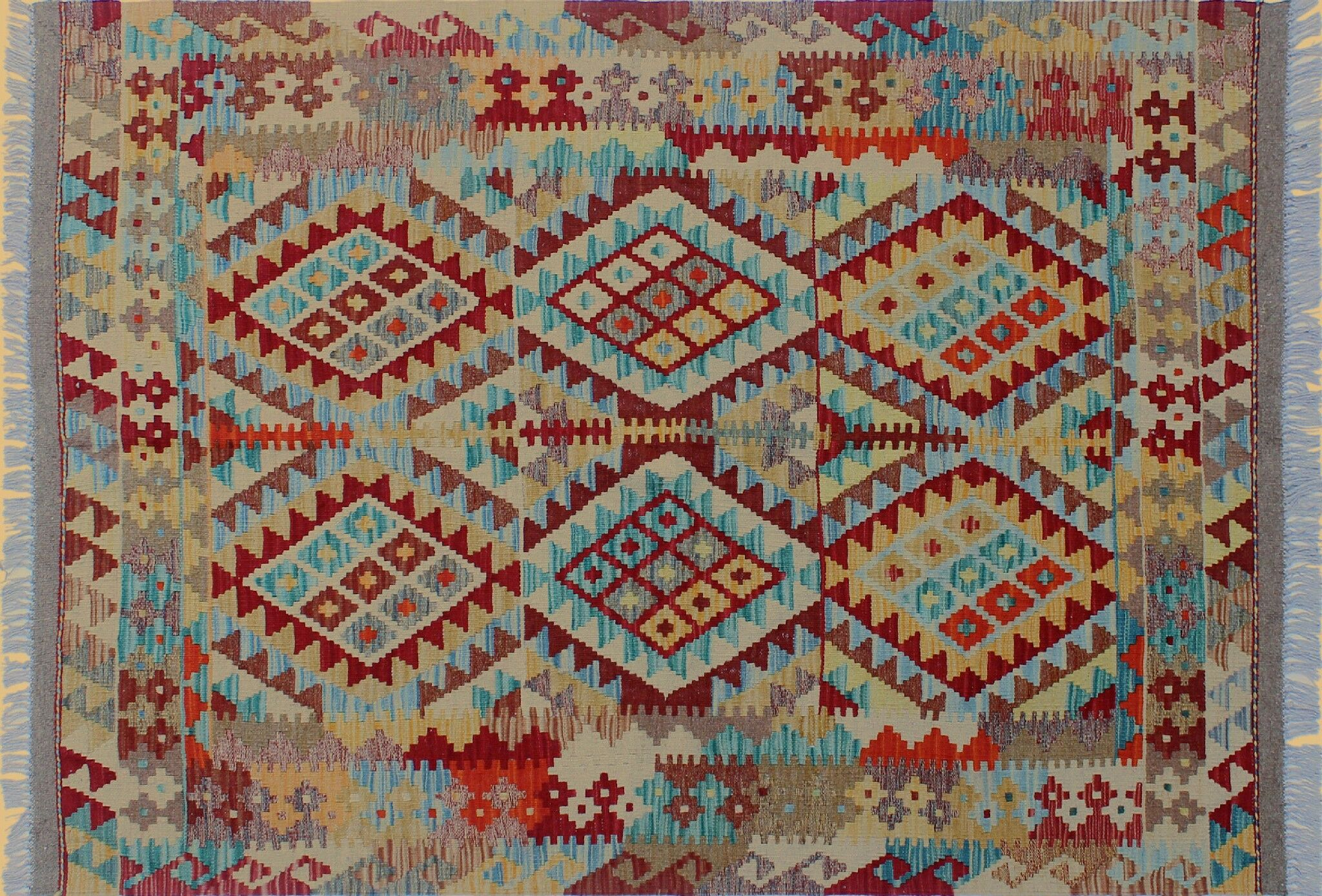 One-of-a-Kind Teressa Kilim Geometric Hand-Woven Red Area Rug