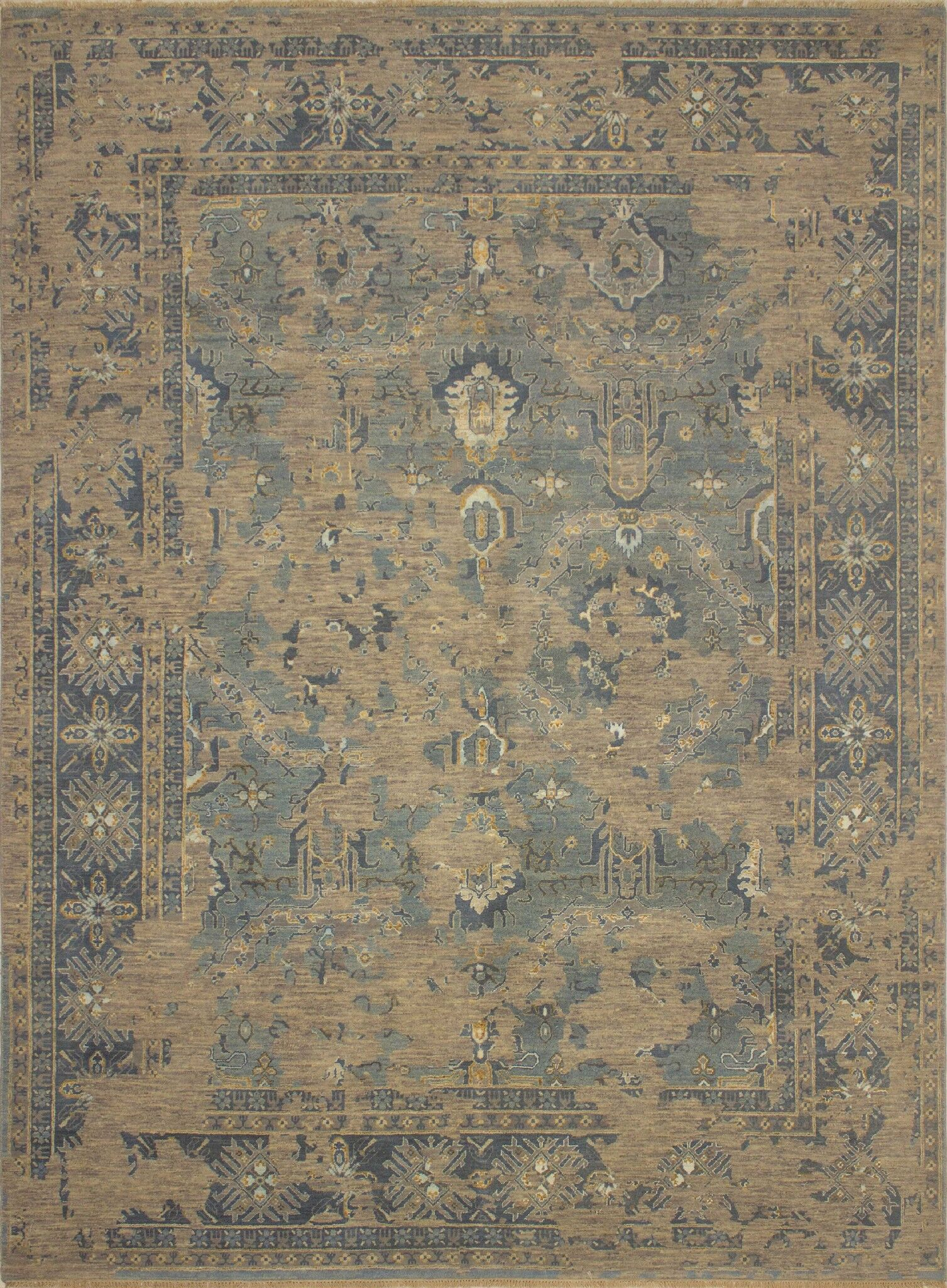 One-of-a-Kind Antionette Oriental Hand-Knotted Wool Gray Area Rug
