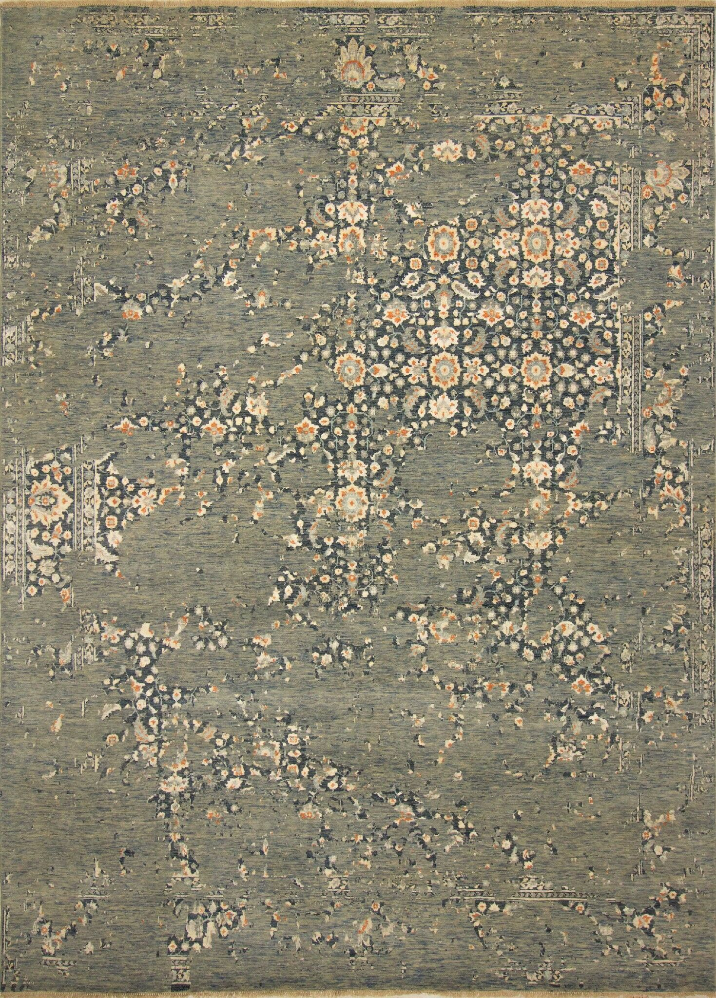 One-of-a-Kind Antionette Hand Knotted Wool Green/Blue Area Rug