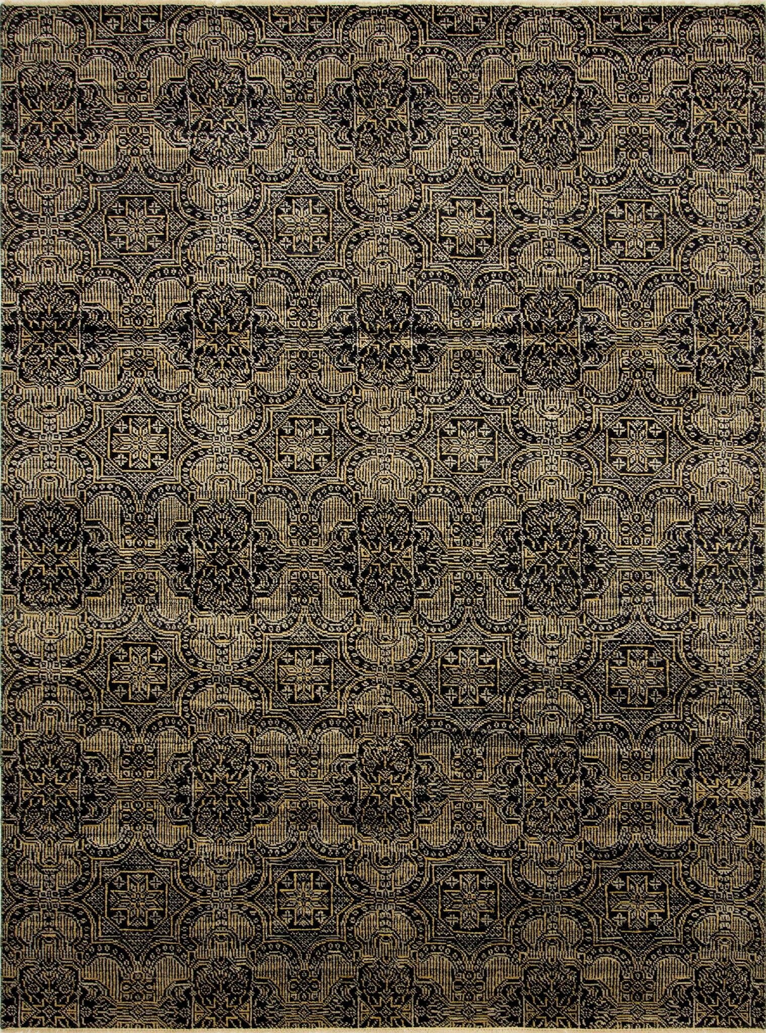 One-of-a-Kind Gena Hand Knotted Wool Black Area Rug