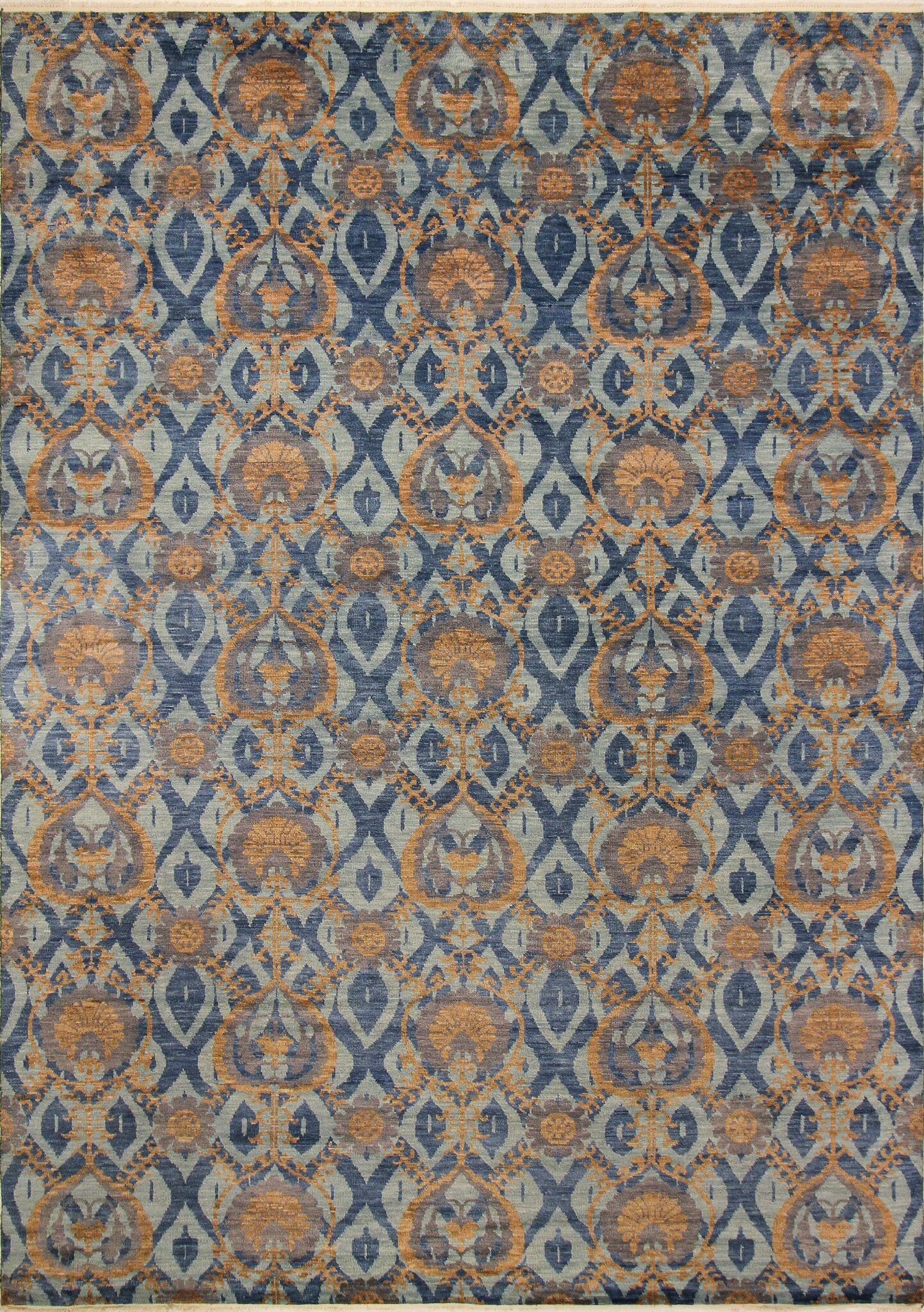 One-of-a-Kind Lona Hand-Knotted 100% Wool Blue/Brown Area Rug