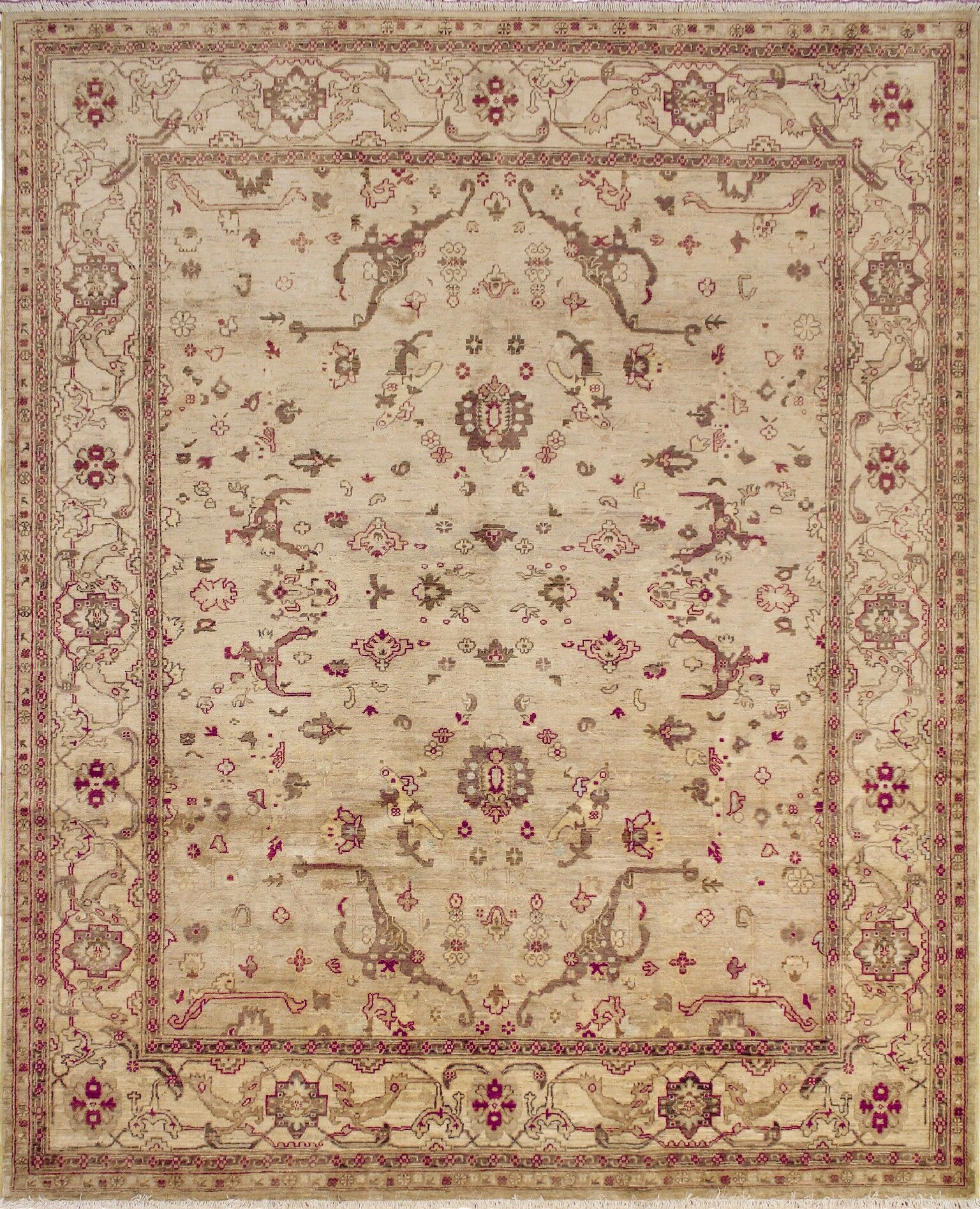 One-of-a-Kind Romona Hand Knotted Premium Wool Beige Area Rug