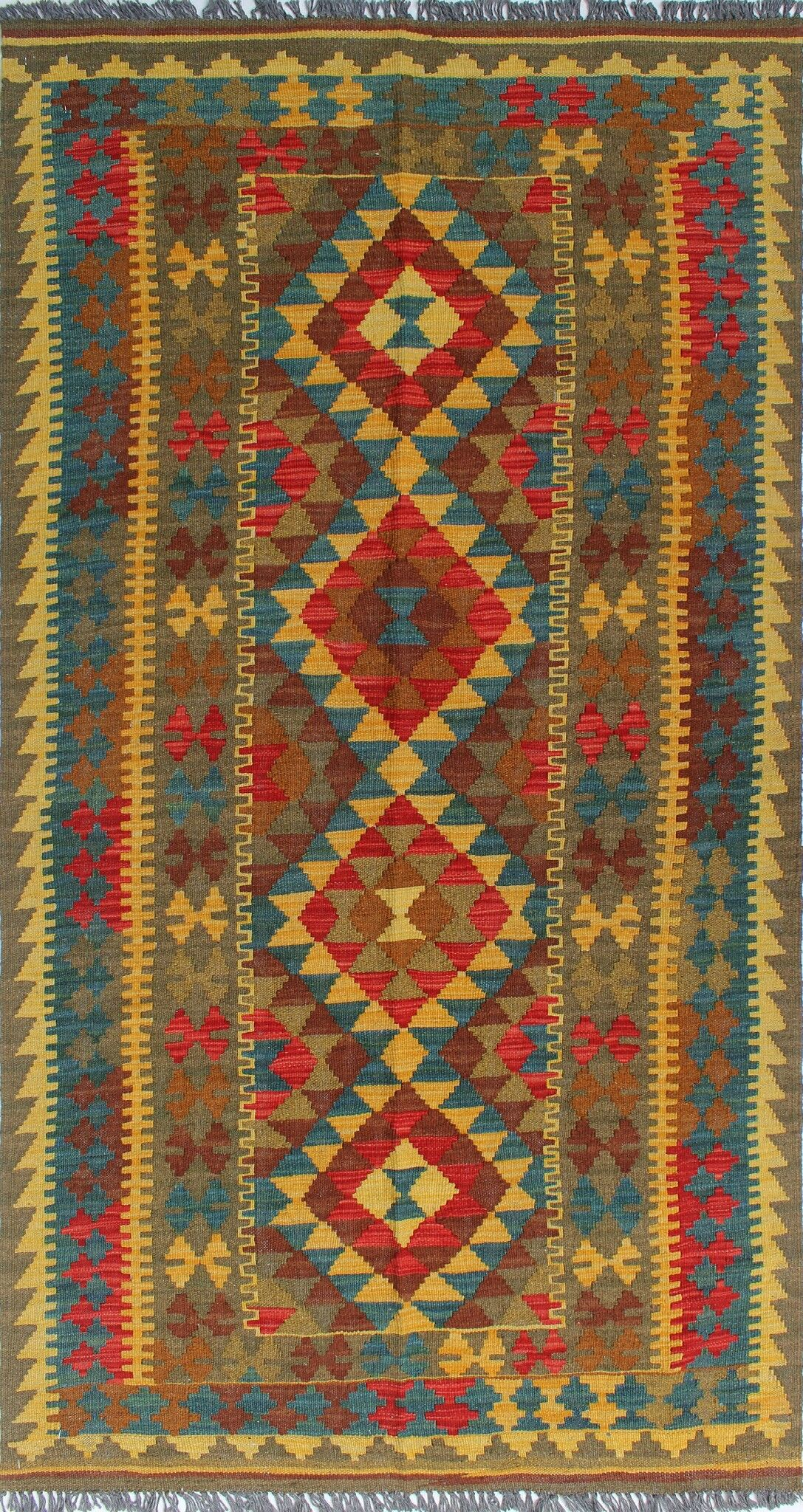 One-of-a-Kind Teressa Kilim Hand-Woven Wool Gold Area Rug