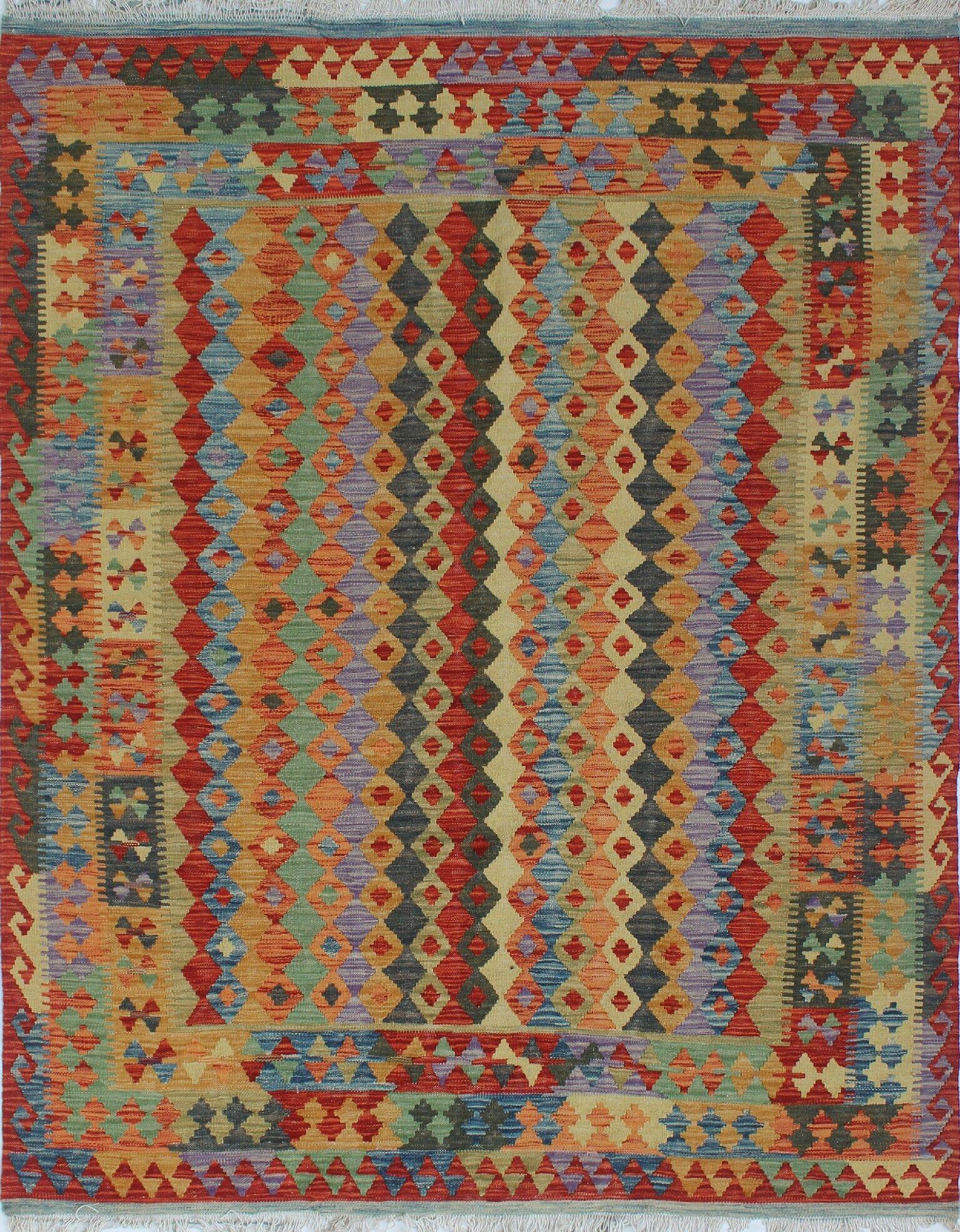One-of-a-Kind Teressa Handmade Kilim Wool Rust Area Rug