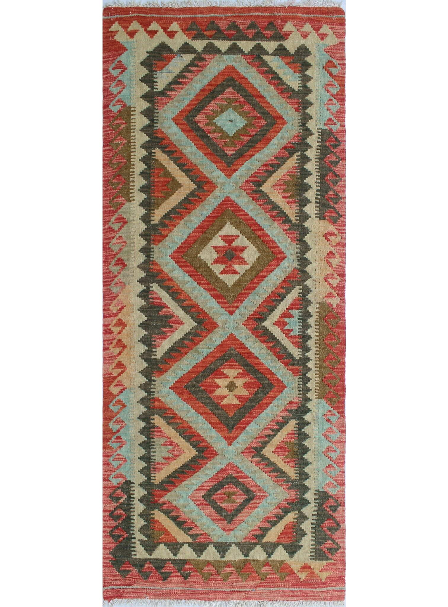 One-of-a-Kind Teressa Kilim Hand-Woven Wool Rust Area Rug