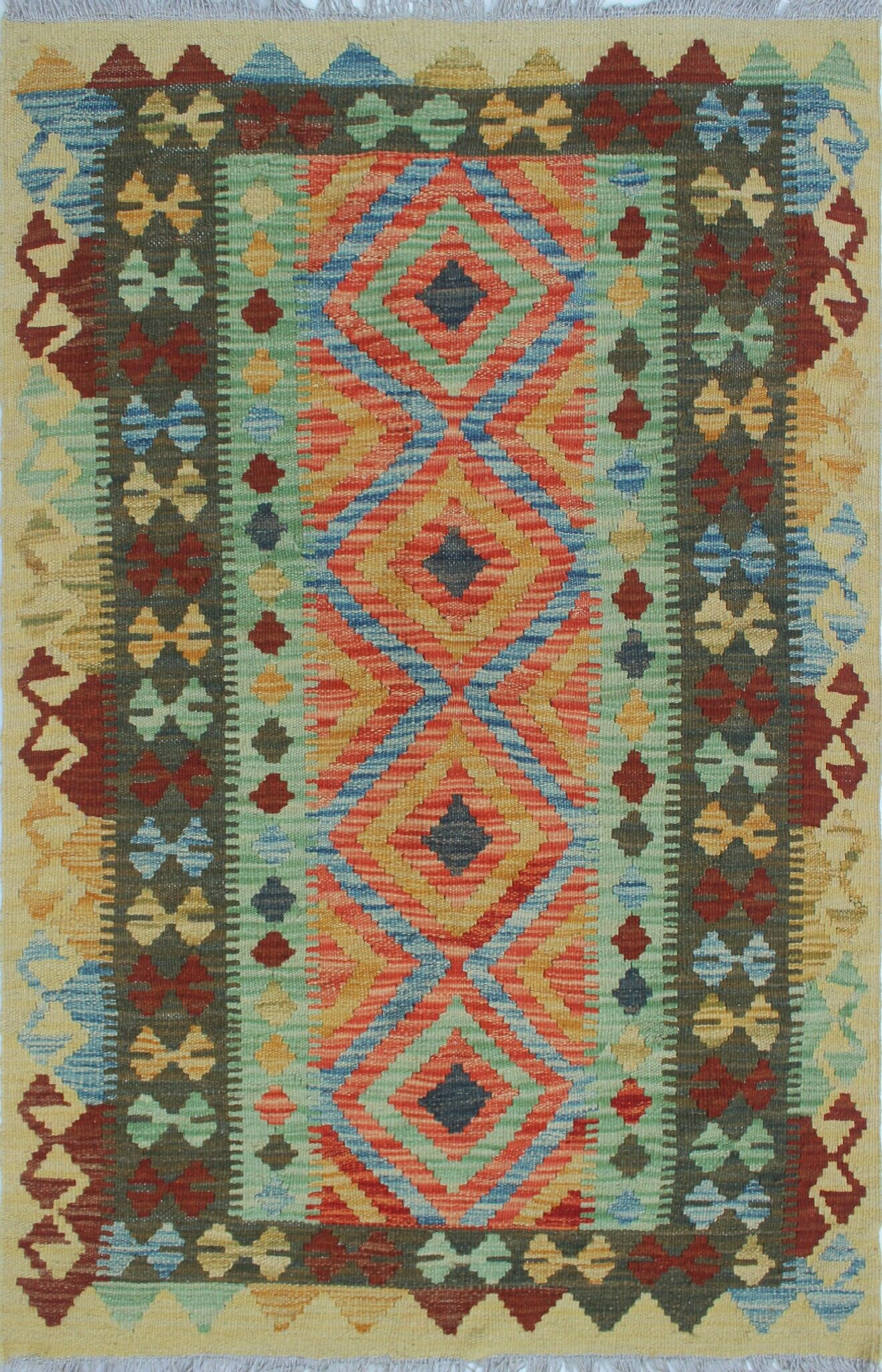 One-of-a-Kind Teressa Kilim Hand-Woven Wool Beige Area Rug