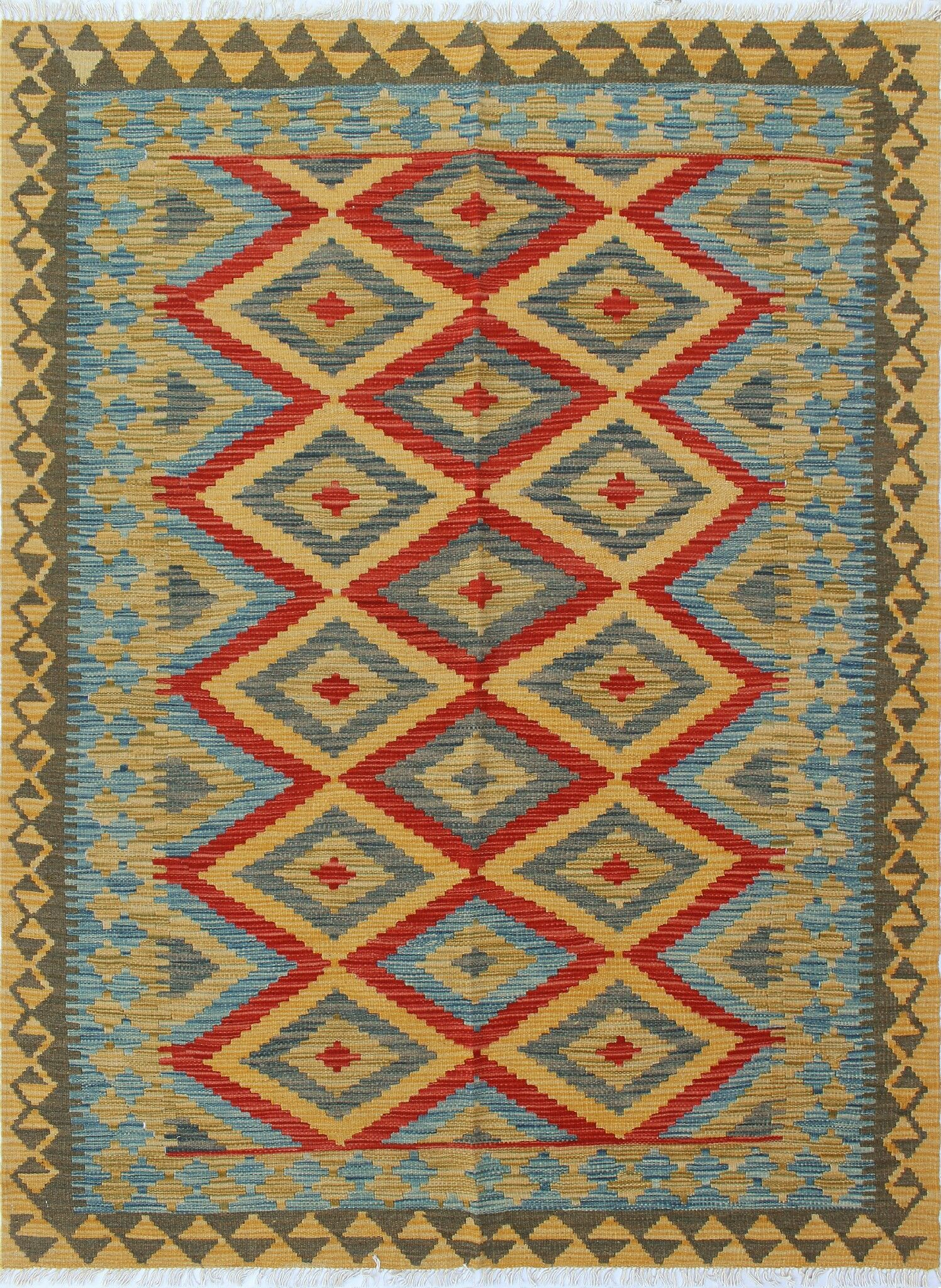 Kilim Hand-Woven Wool Gold Area Rug Size: 4'10
