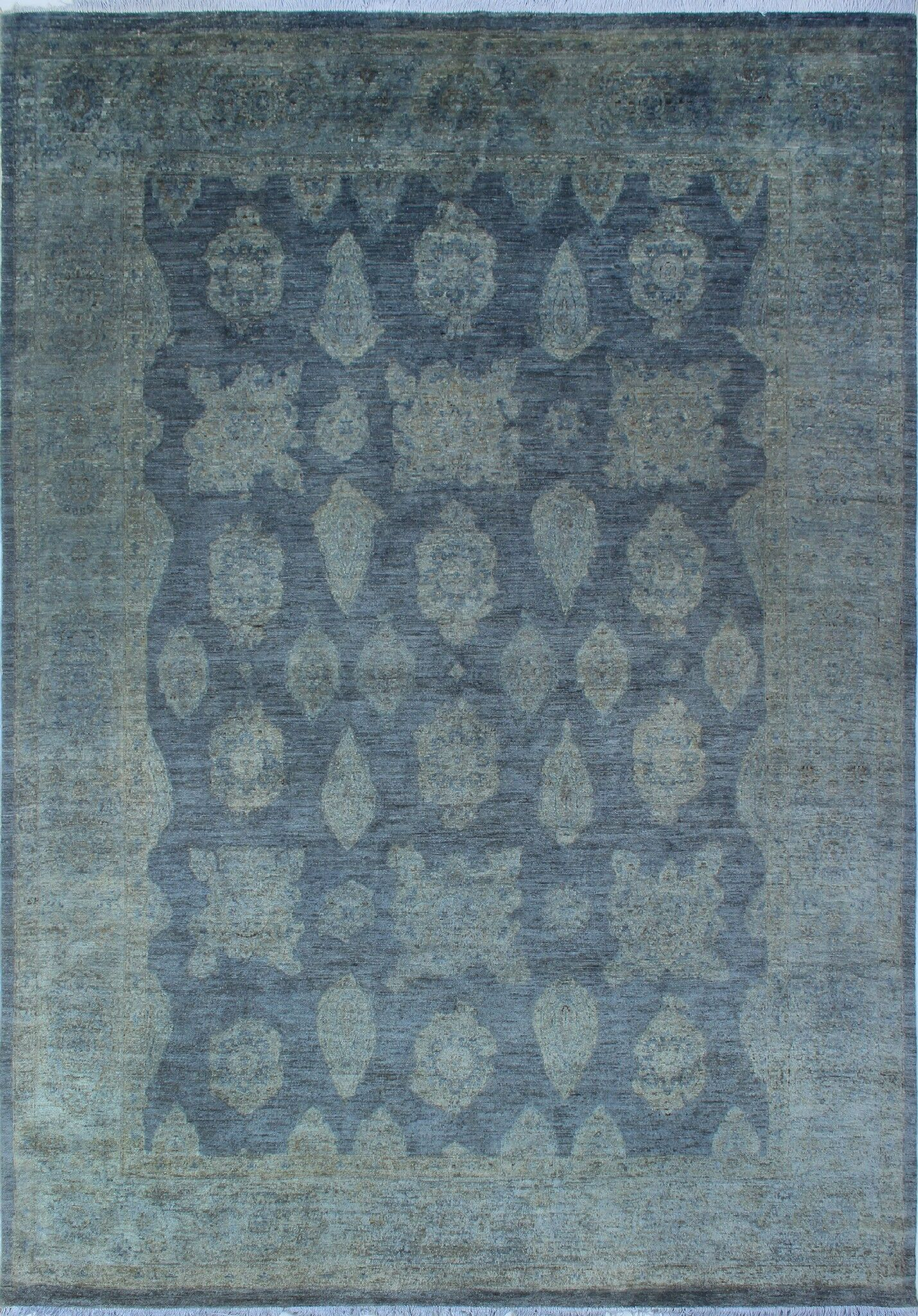 One-of-a-Kind Collette Hand-Knotted Wool Grey Area Rug