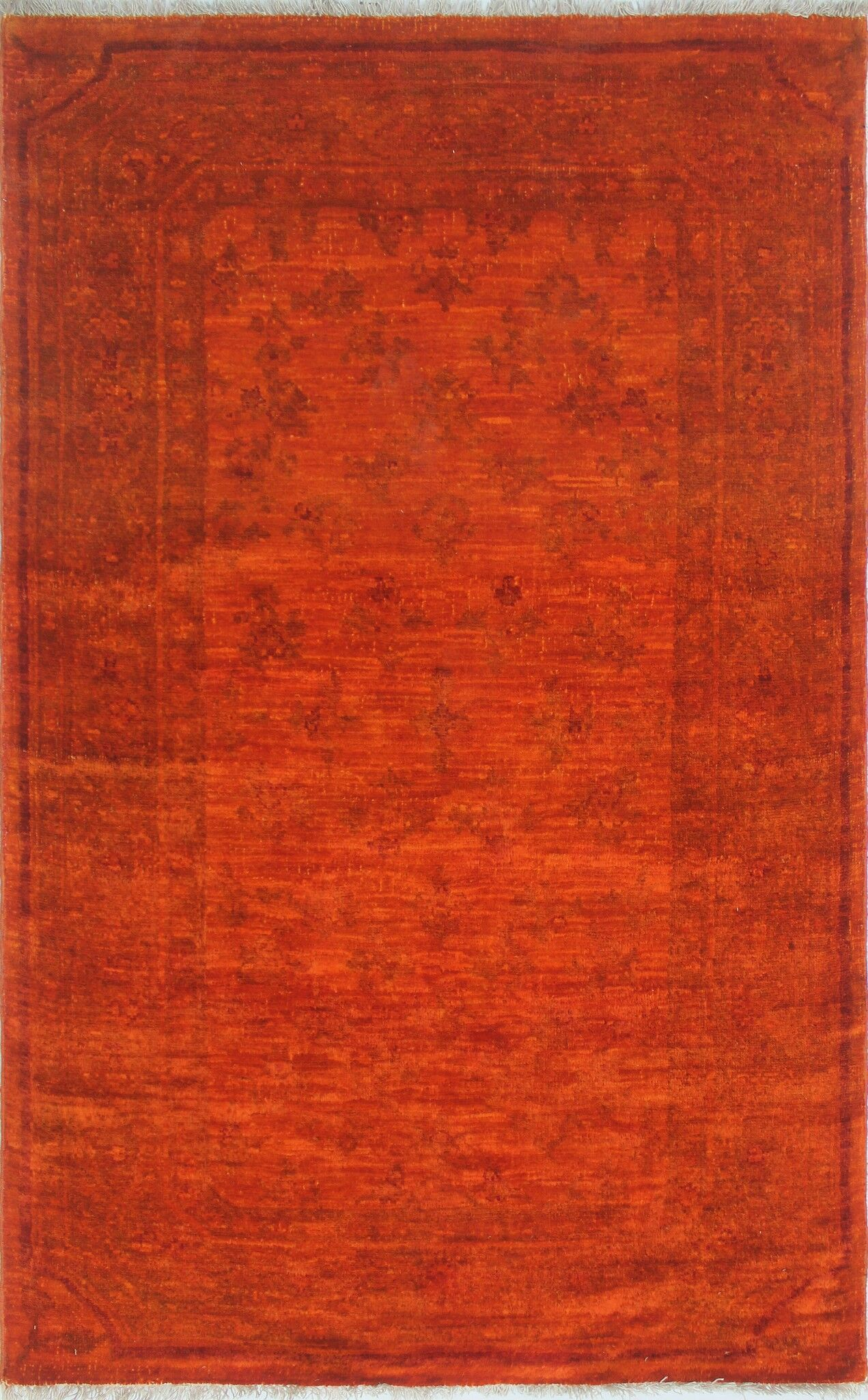 One-of-a-Kind Collette Hand-Knotted Wool Orange Area Rug