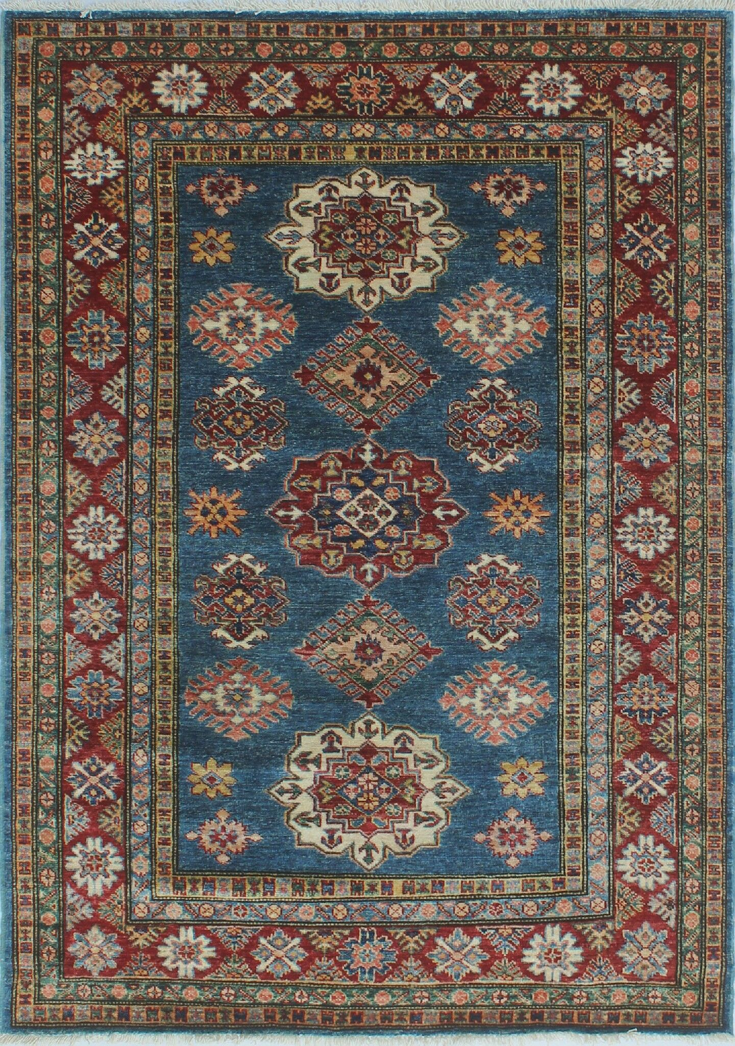 One-of-a-Kind Bronzewood Hand-Knotted Wool Blue Area Rug