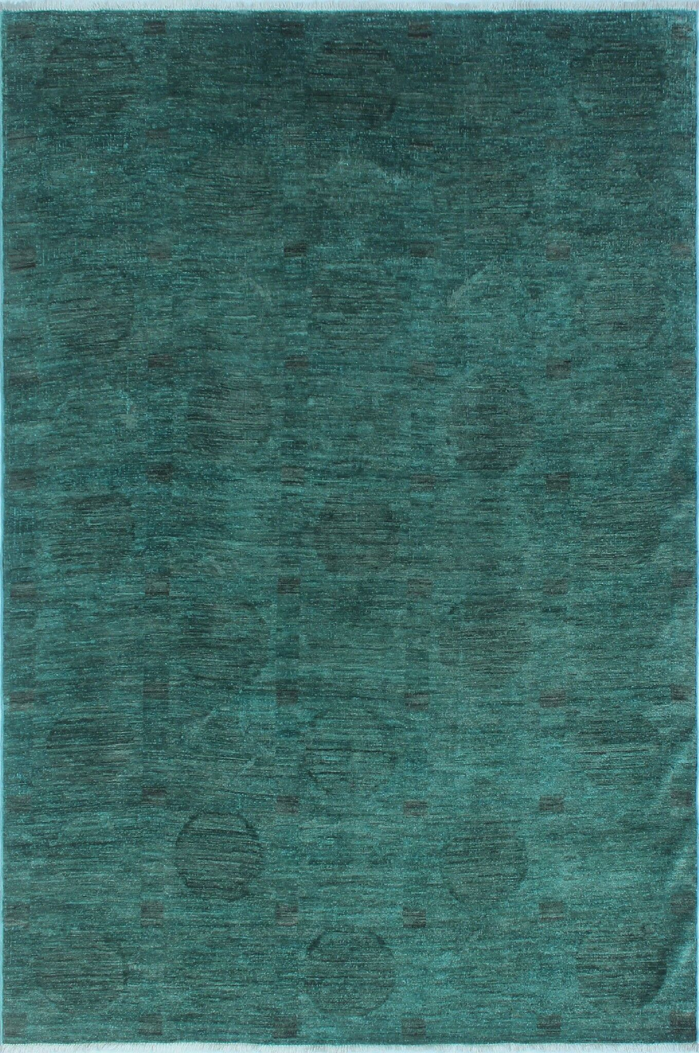One-of-a-Kind Collette Teal Hand-Knotted Wool Green Area Rug