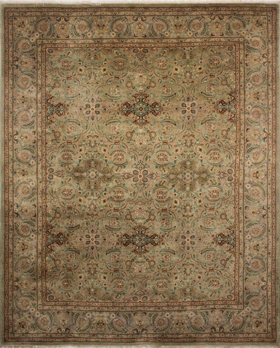 Clerkin Hand Knotted Wool Green Area Rug Size: 8'5