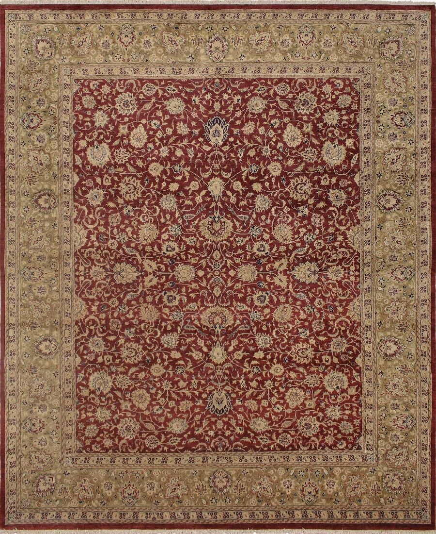 Clearman Hand Knotted Wool Red/Green Area Rug Size: 8' H x 9'9