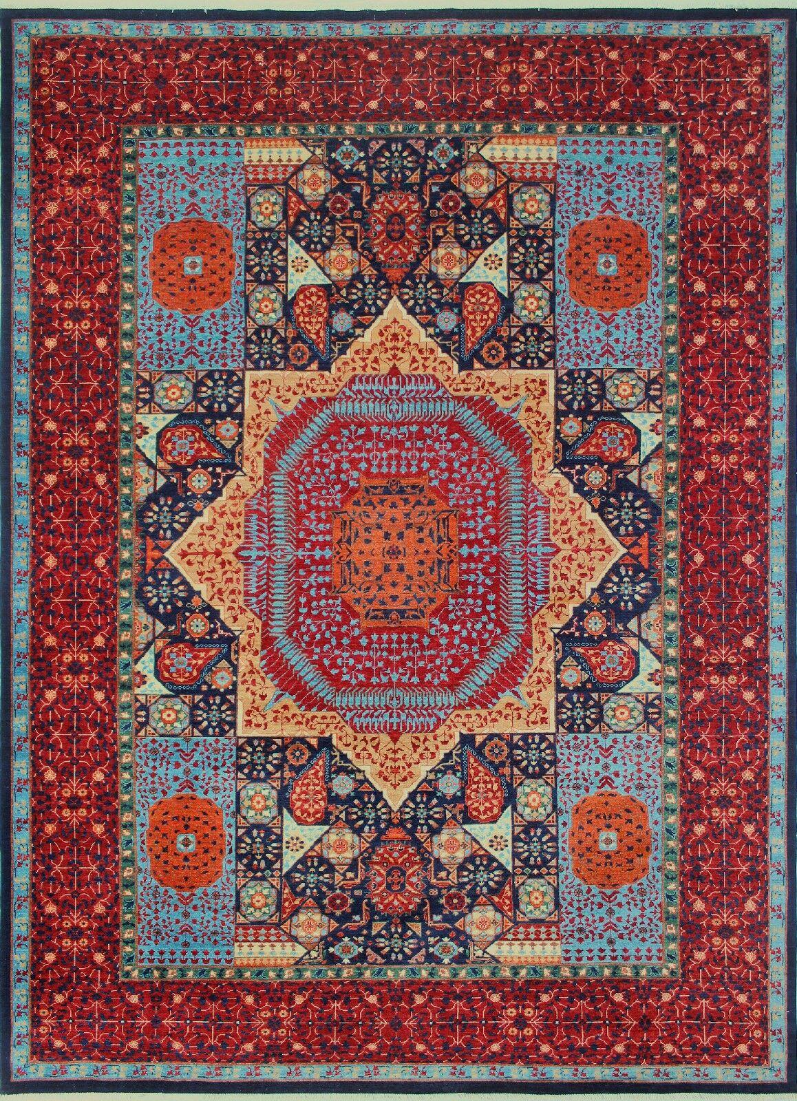 Woodmoor Chobi Hand Knotted Premium Wool Rectangle Blue Oriental Area Rug