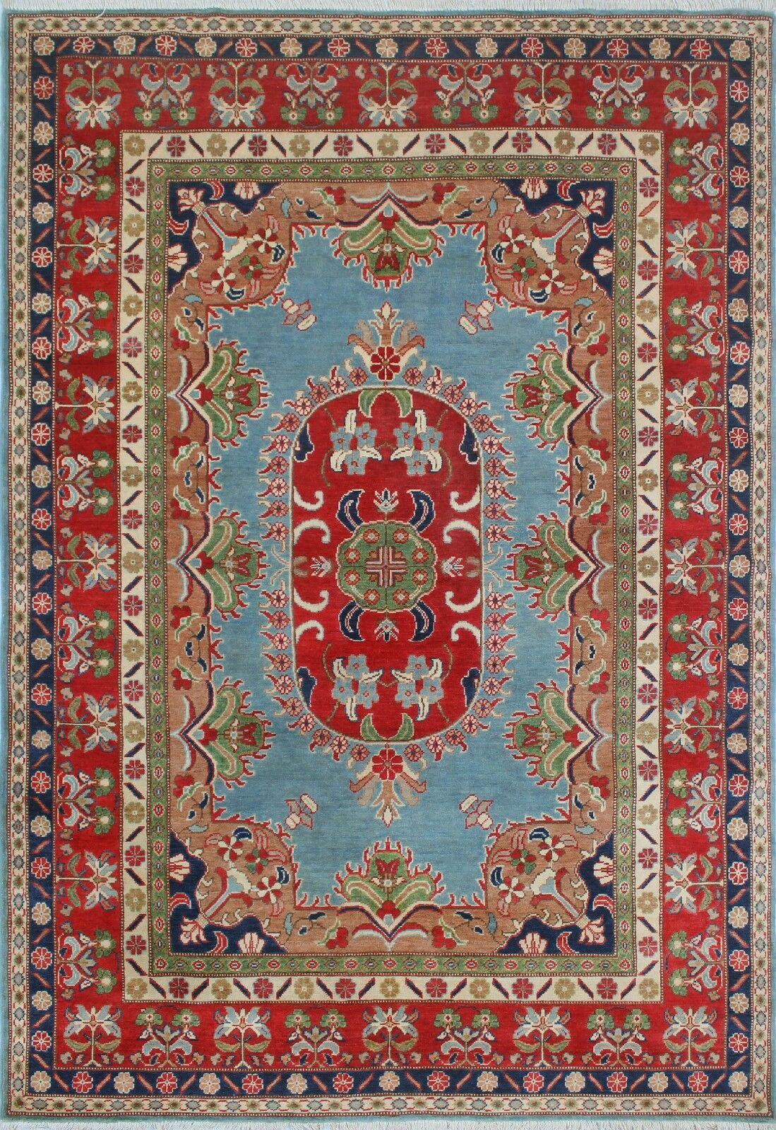 Brousseau Kazak Hand-Knotted Wool Blue Area Rug