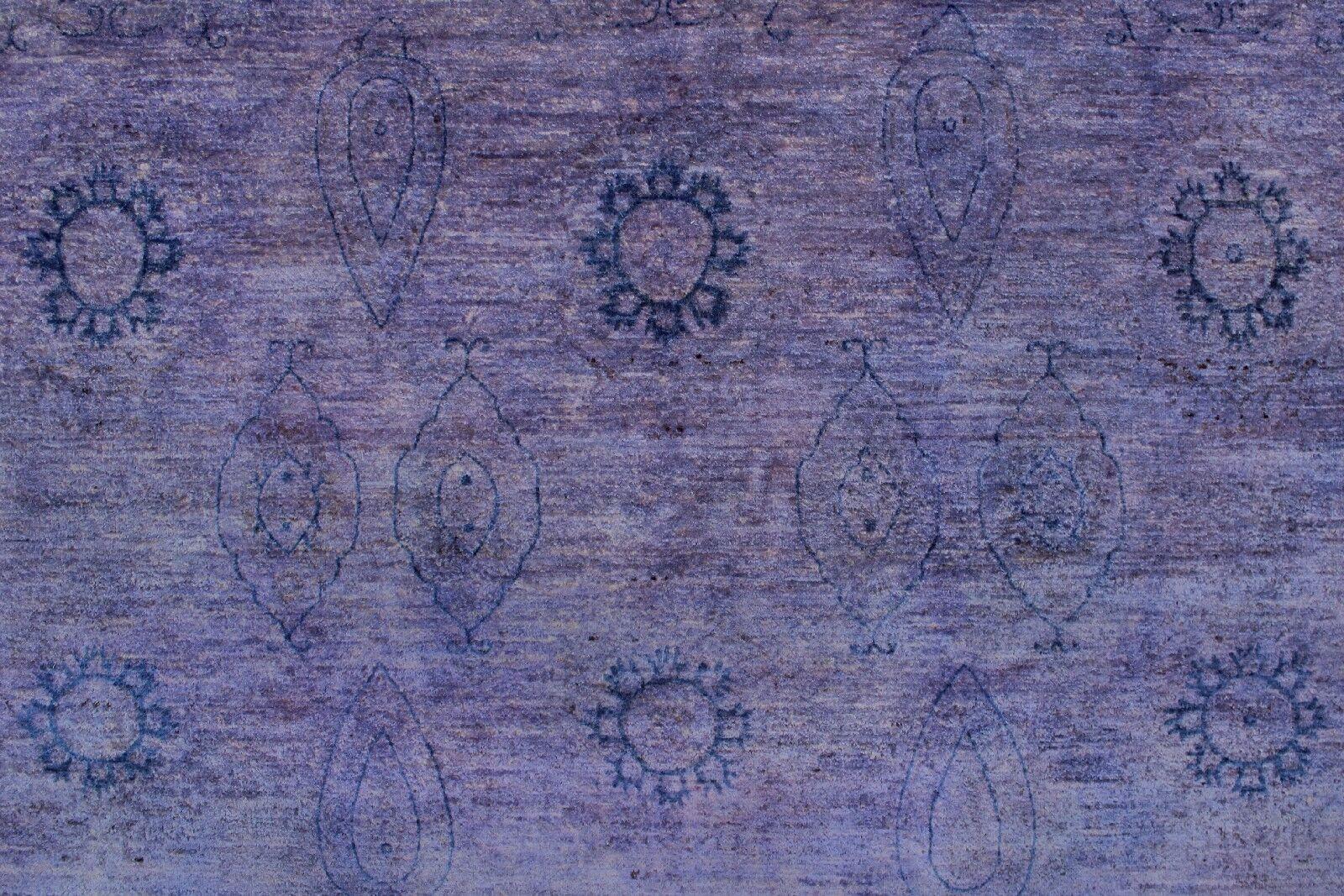 Blakeslee Knotted Wool Rectangle Purple Area Rug