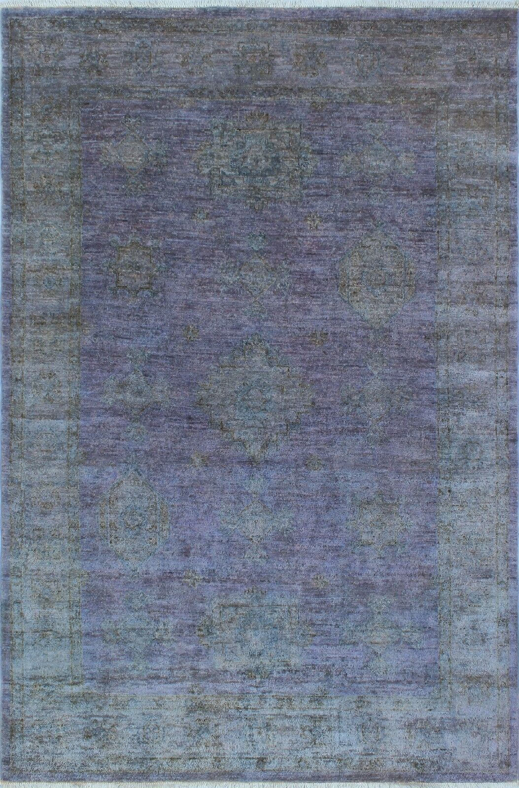 Blakeslee Hand Knotted Wool Rectangle Purple Area Rug