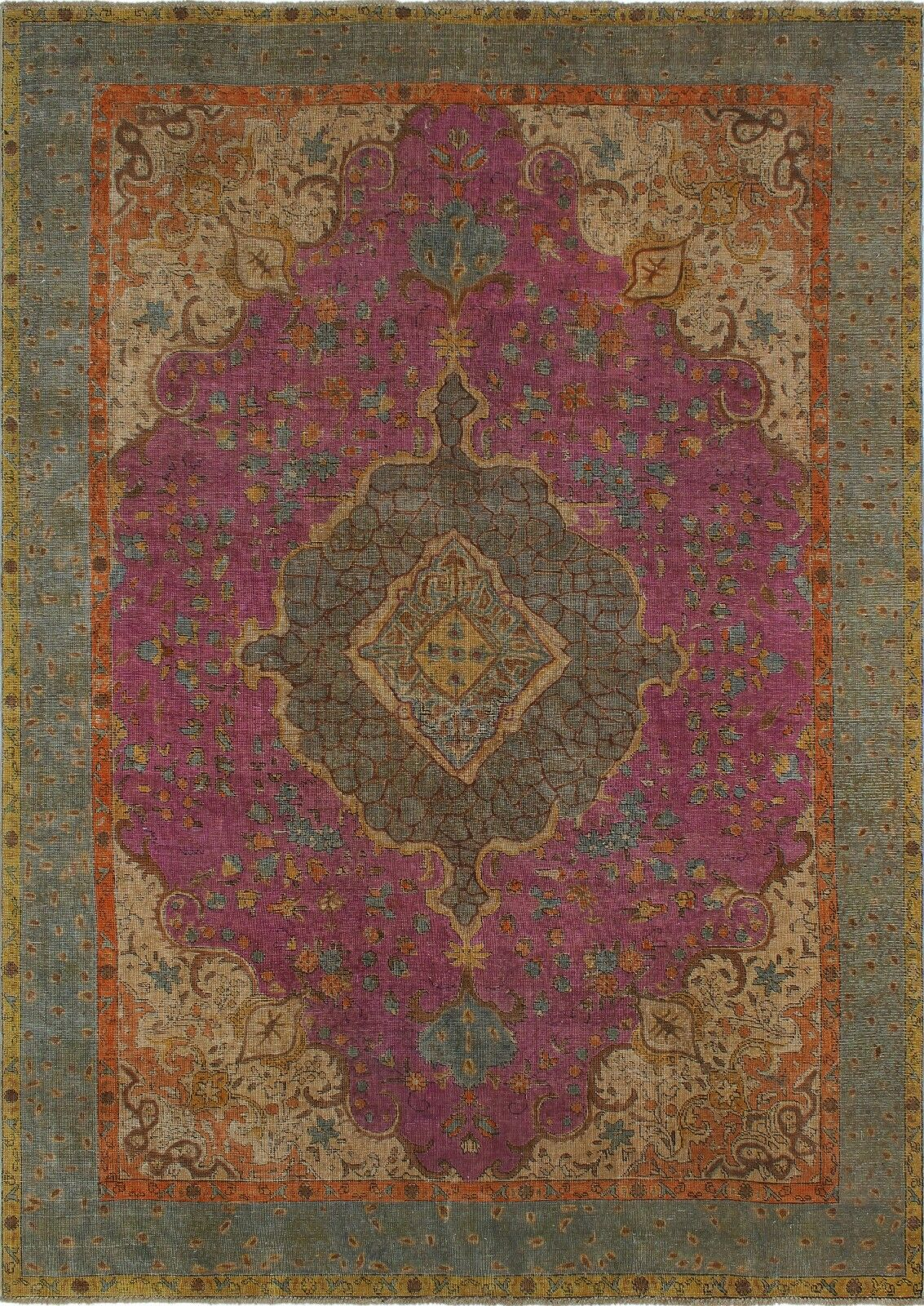 Haislip Vintage Distressed Overdyed Hand Knotted Wool Purple Area Rug